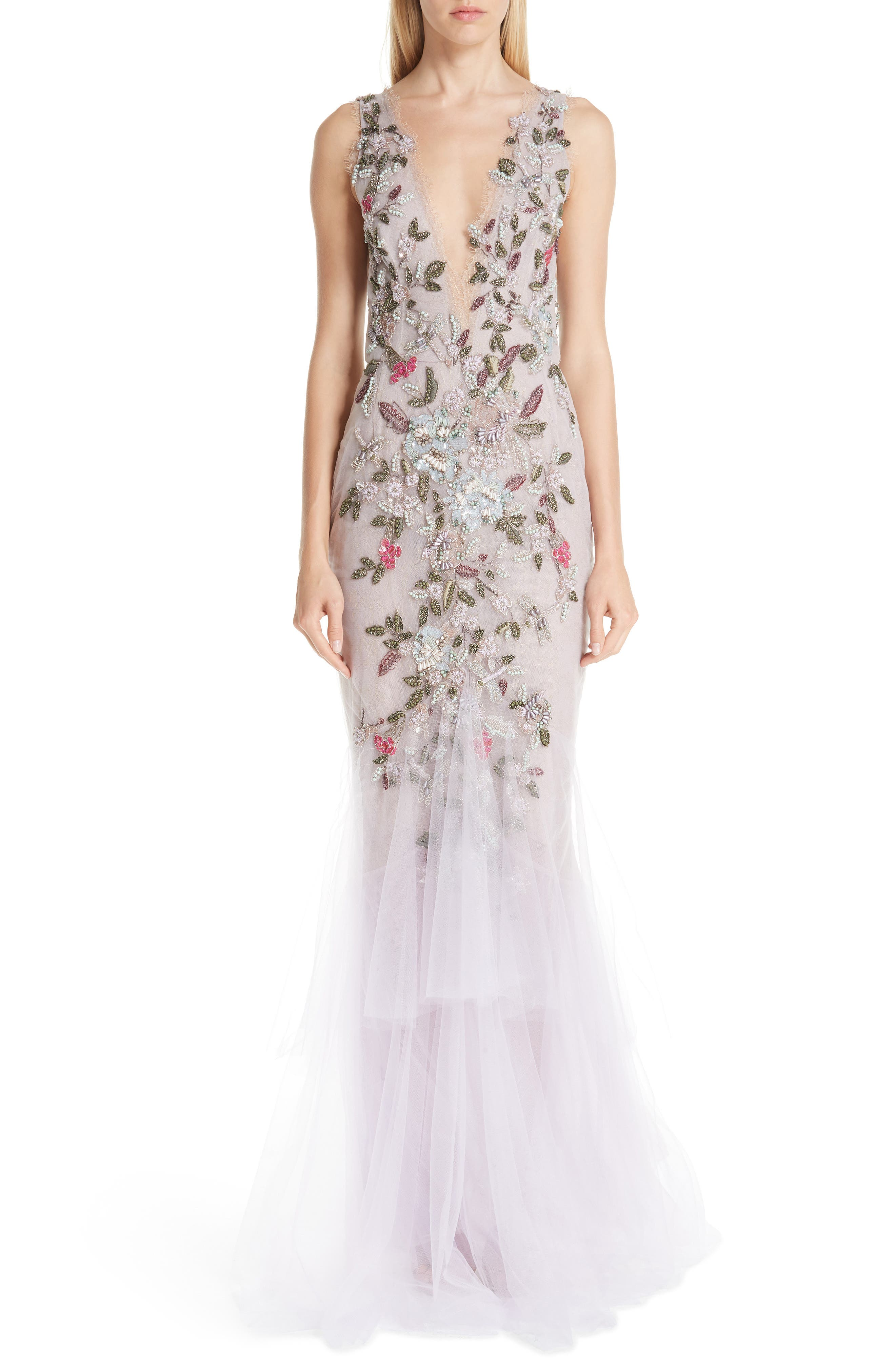 MARCHESA Embroidered Floral Evening Dress, Main, color, LILAC