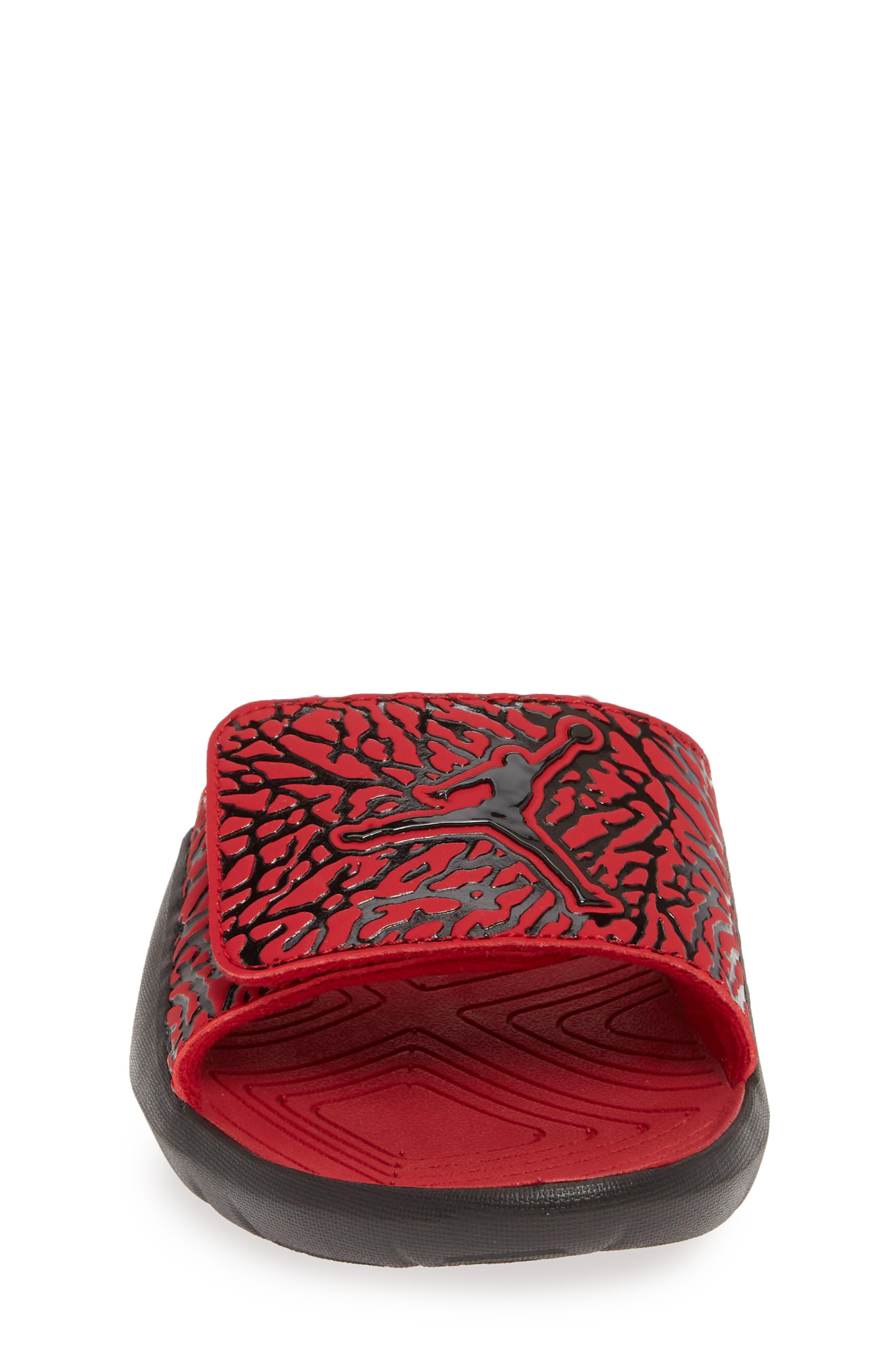 JORDAN, Hydro 7 V2 Sandal, Alternate thumbnail 4, color, GYM RED/ BLACK