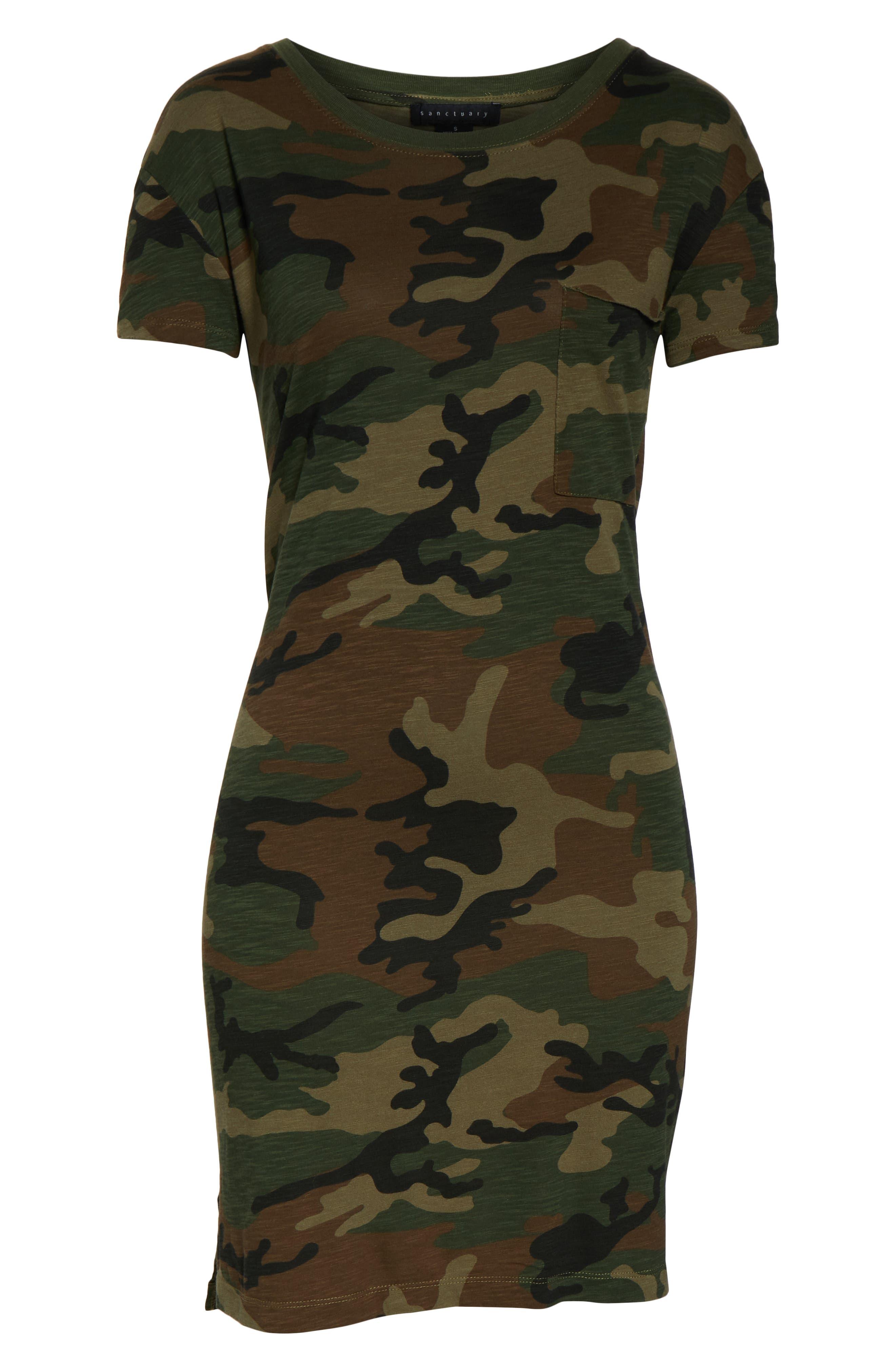 SANCTUARY, Camo Print T-Shirt Dress, Alternate thumbnail 5, color, LOVE CAMO