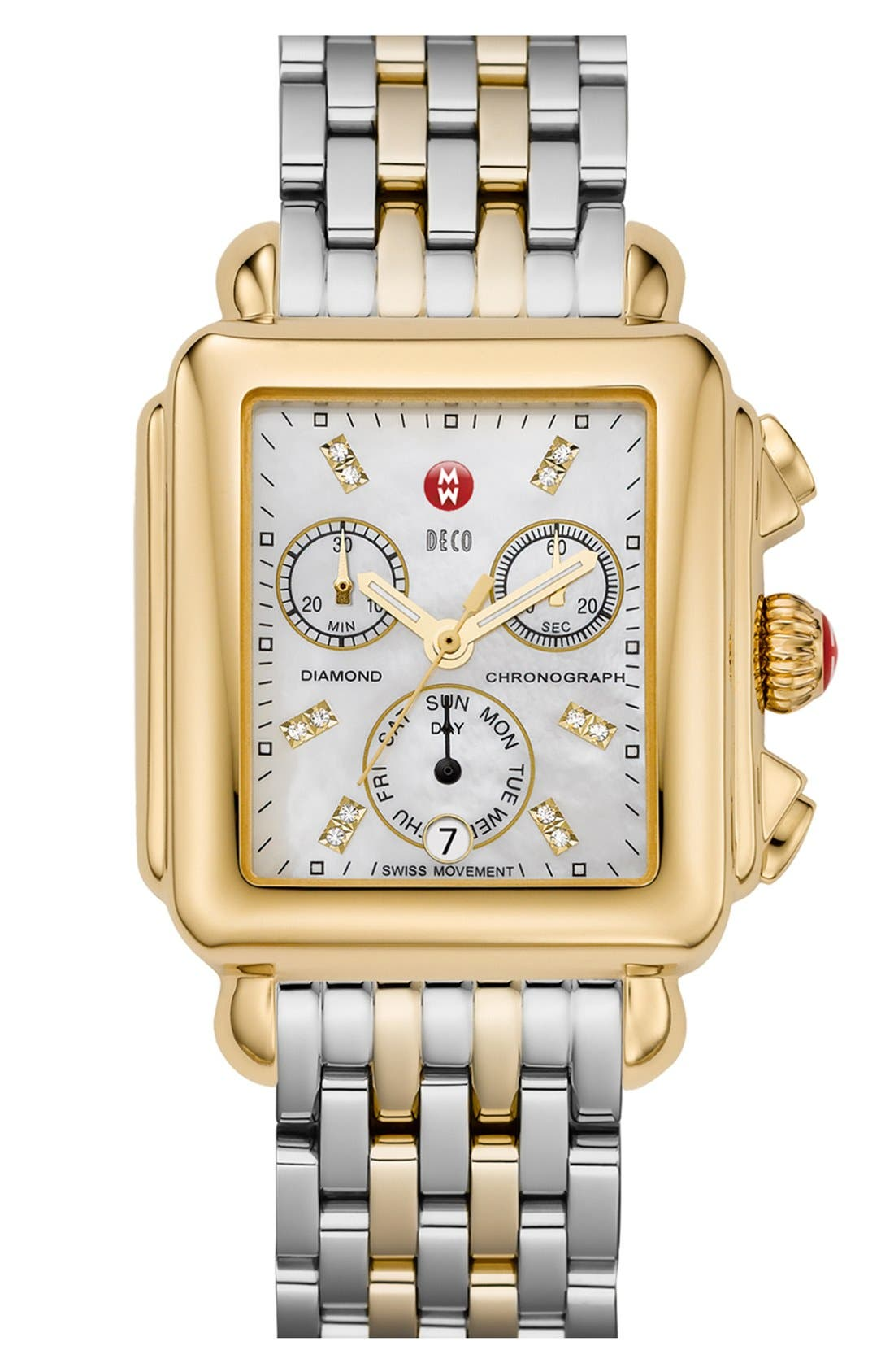 MICHELE, Deco 18mm Two-Tone Bracelet Watchband, Alternate thumbnail 8, color, SILVER/ GOLD
