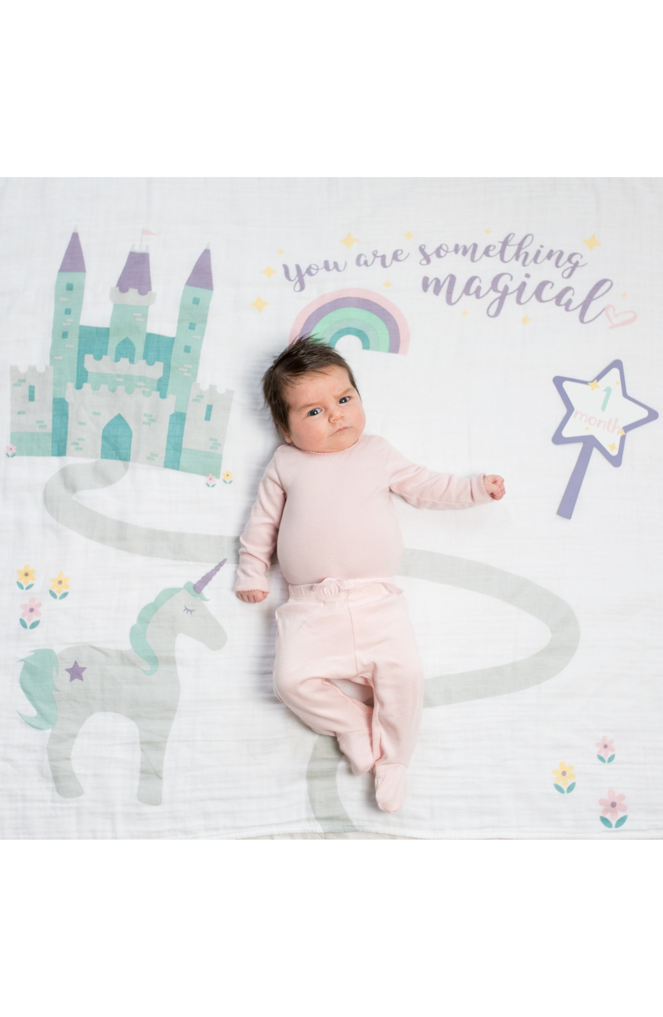 LULUJO, Baby's First Year - Something Magical Muslin Blanket & Milestone Card Set, Main thumbnail 1, color, LAVENDER