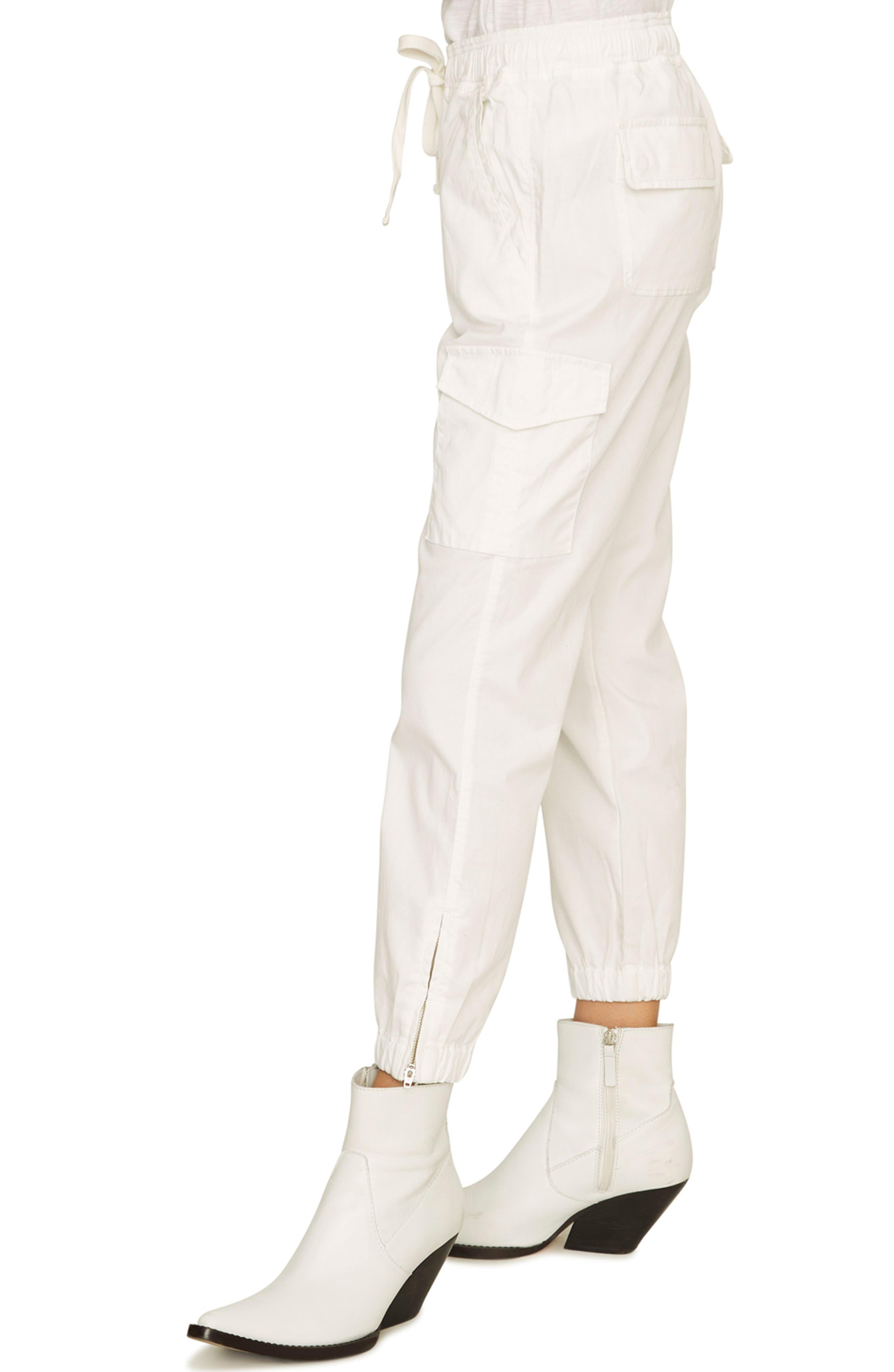 SANCTUARY, Drawstring Trooper Pants, Alternate thumbnail 4, color, BRITE WHITE