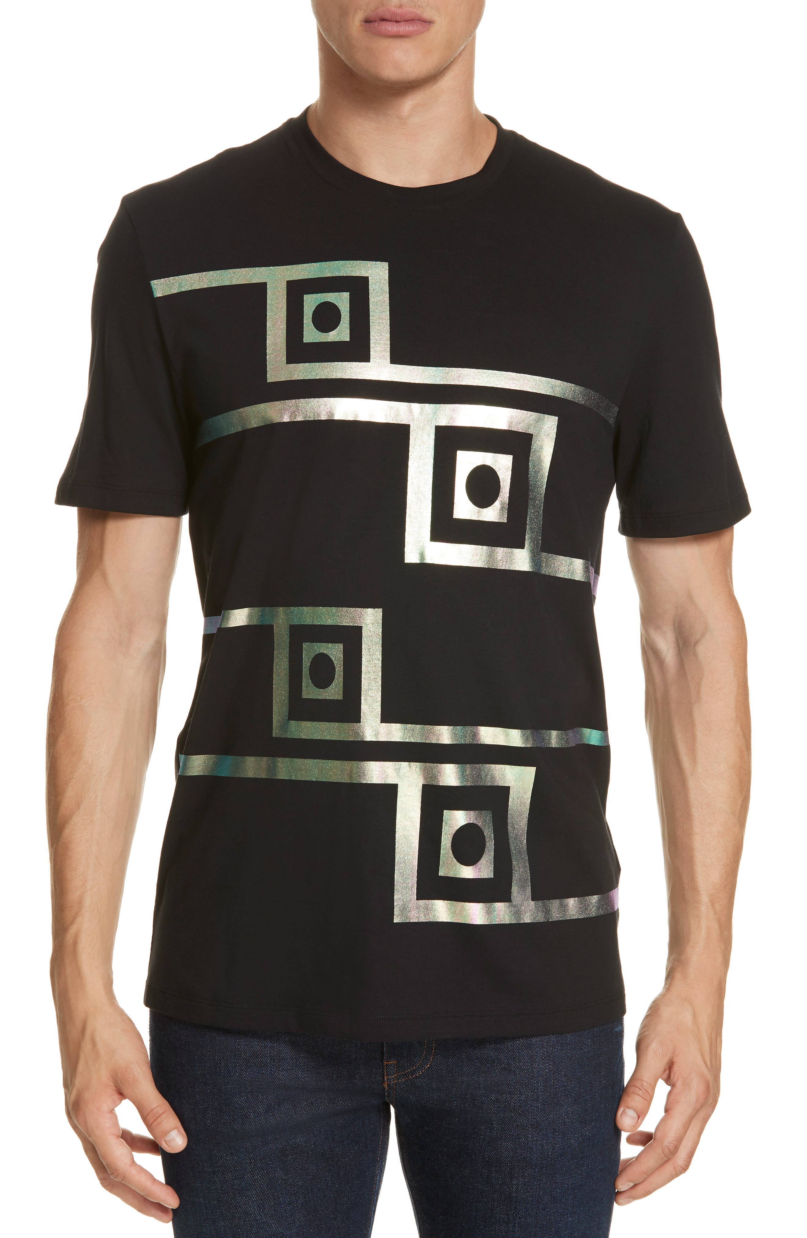 VERSACE COLLECTION Iridescent Graphic T-Shirt, Main, color, BLACK/ PAINT