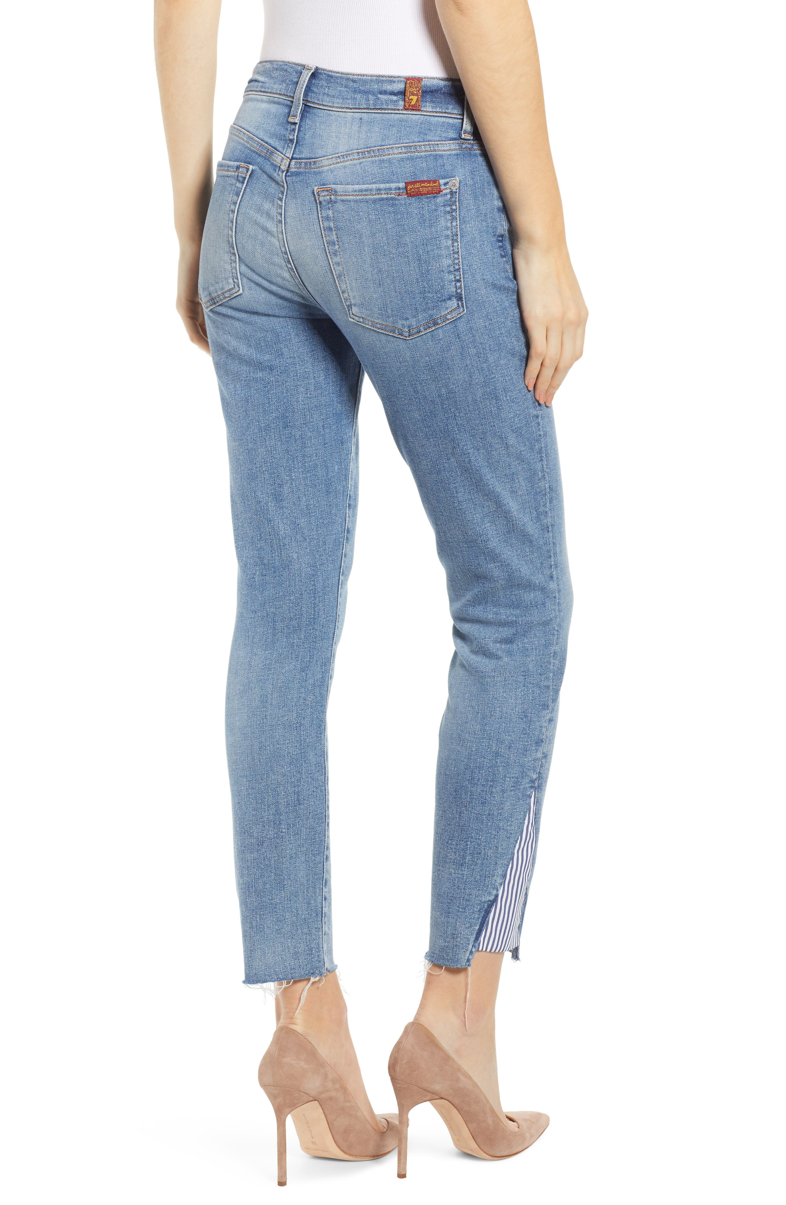 7 FOR ALL MANKIND<SUP>®</SUP>, Stripe Inset Ankle Skinny Jeans, Alternate thumbnail 2, color, SLOANE VINTAGE