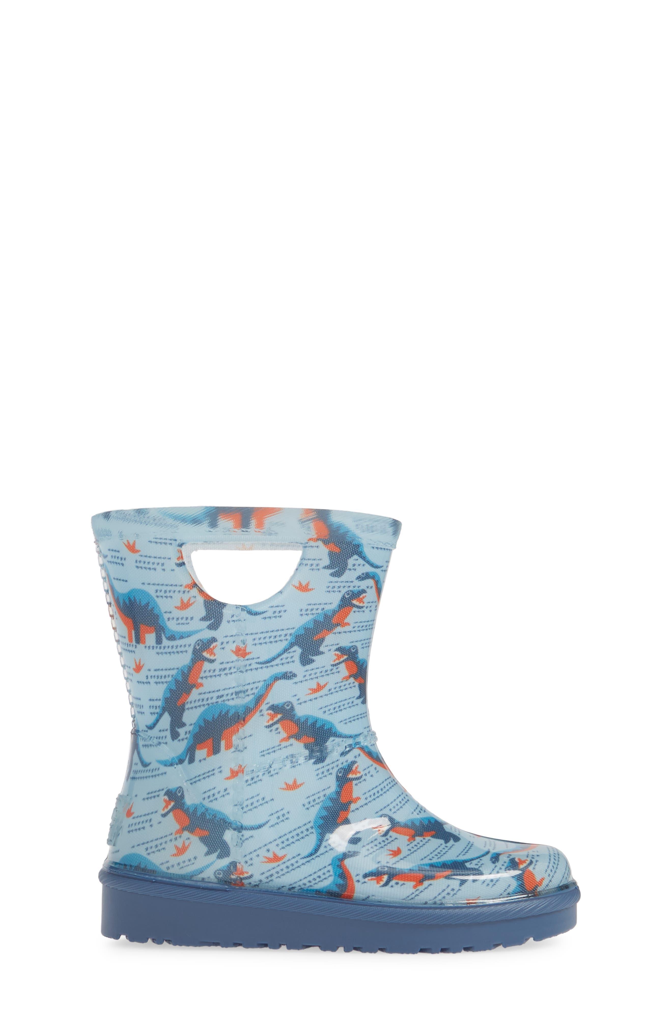 UGG<SUP>®</SUP>, Rahjee Waterproof Rain Boot, Alternate thumbnail 3, color, BALLAD BLUE
