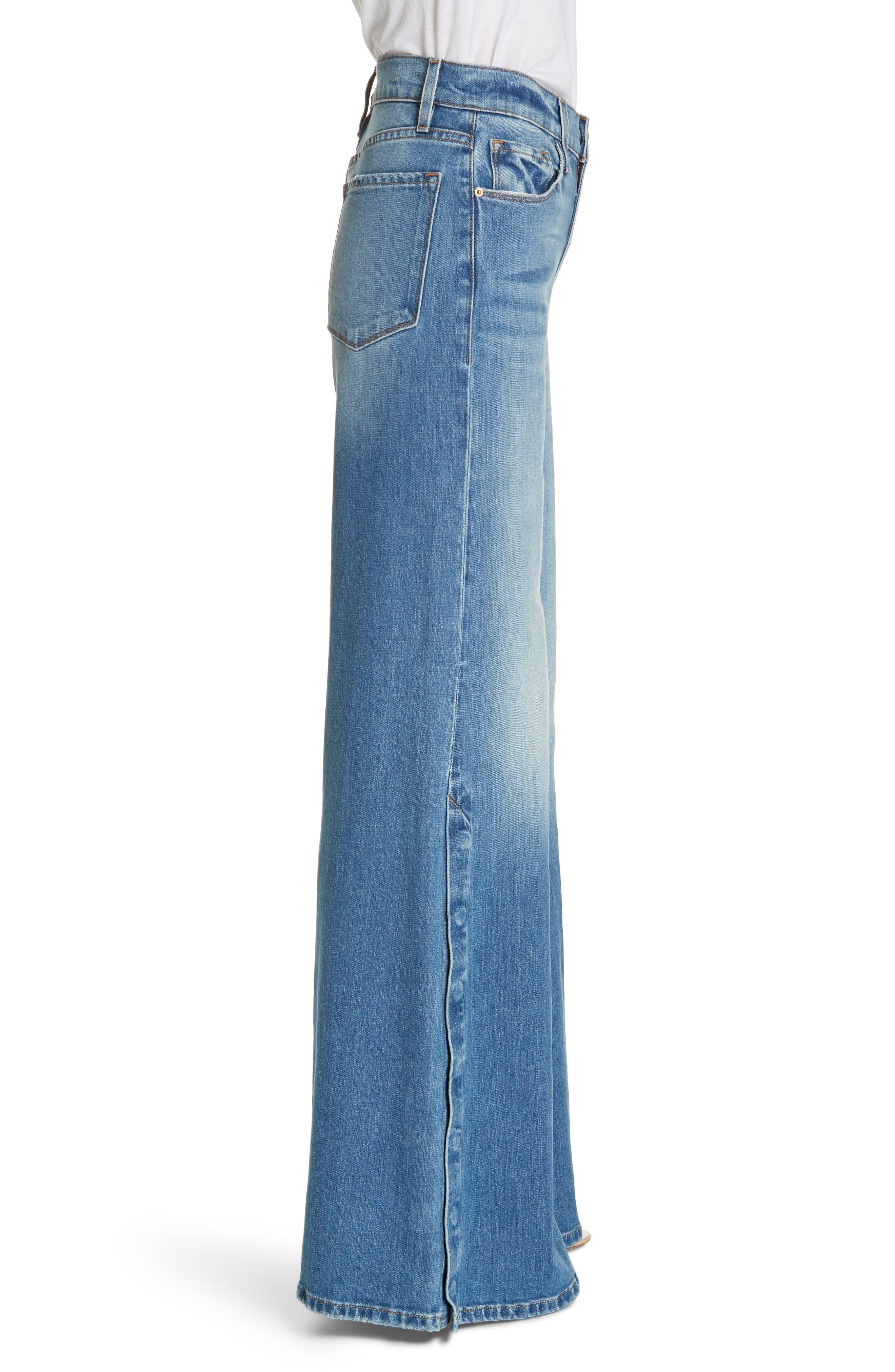 FRAME, Le Palazzo Snap Away Hem Wide Leg Jeans, Alternate thumbnail 3, color, 420