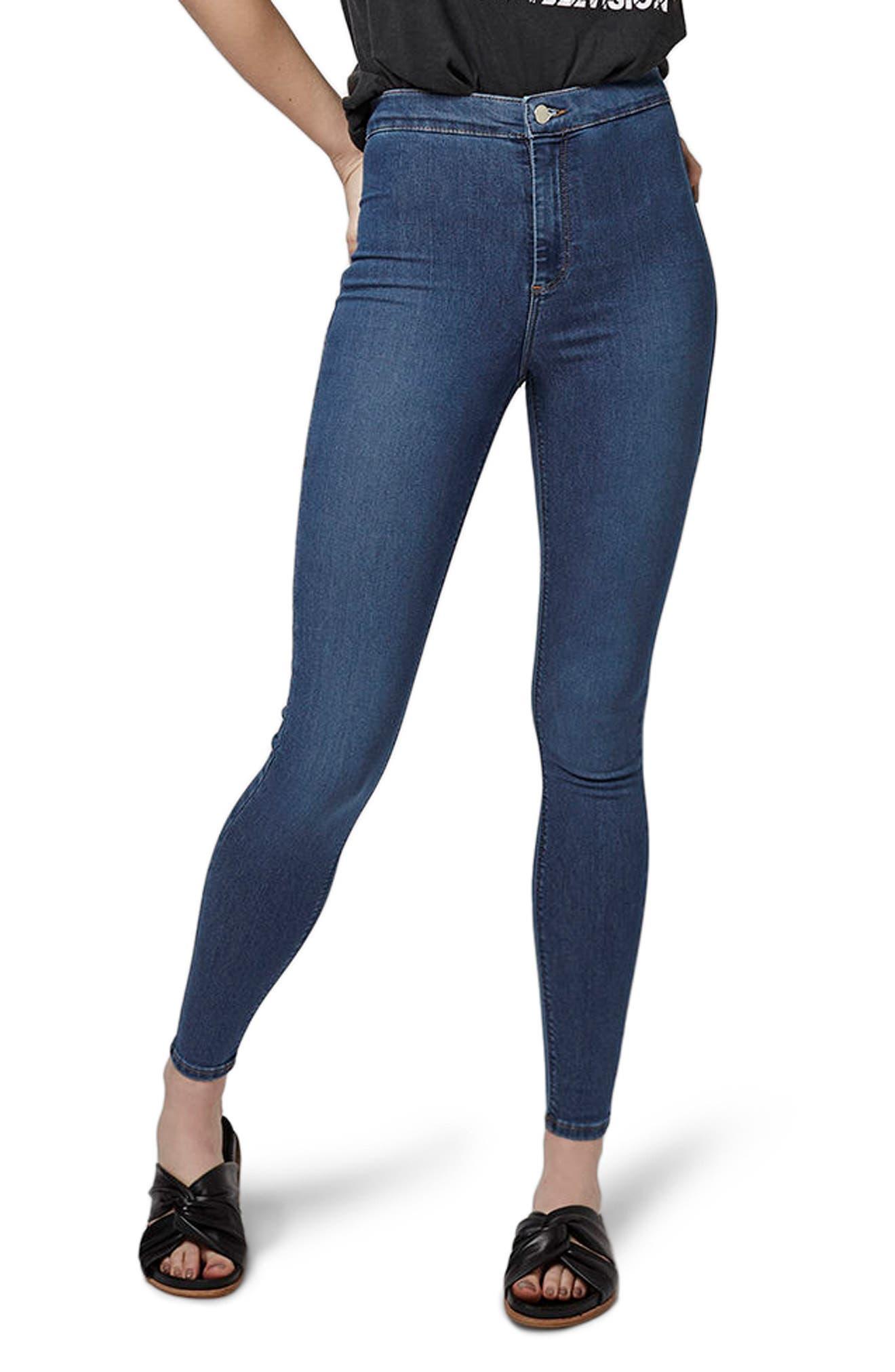 TOPSHOP Joni Mid Denim Jeans, Main, color, MID DENIM