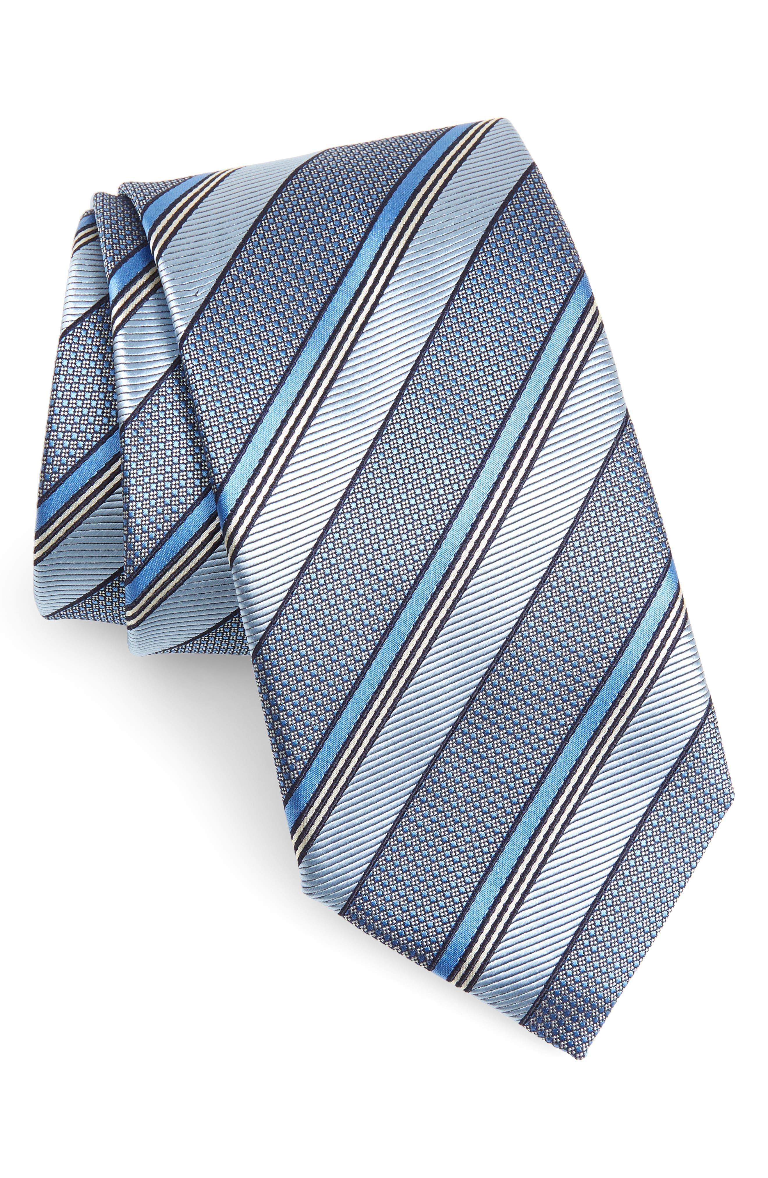 CANALI, Stripe Silk Tie, Main thumbnail 1, color, BLUE