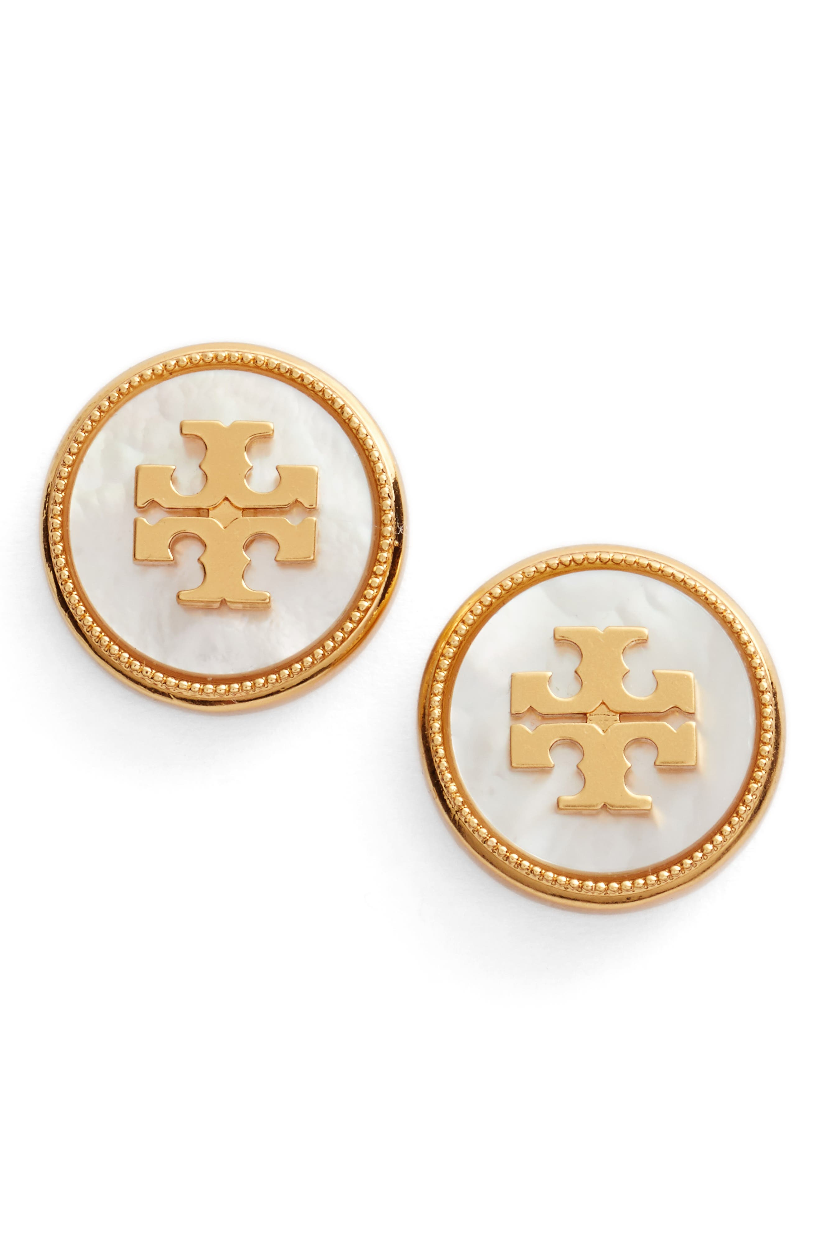 TORY BURCH, Semiprecious Stone Stud Earrings, Main thumbnail 1, color, MOTHER OF PEARL / VINTAGE GOLD