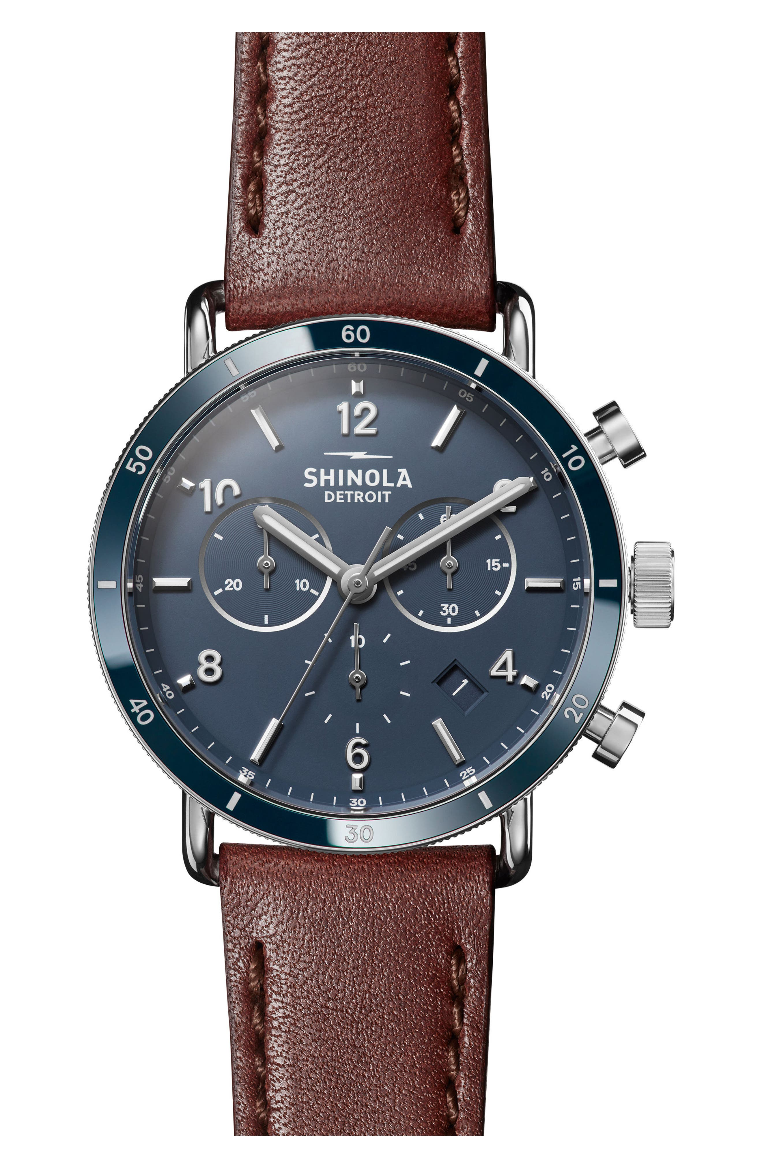 SHINOLA, The Canfield Chrono Leather Strap Watch, 40mm, Main thumbnail 1, color, DARK COGNAC/ BLUE/ SILVER