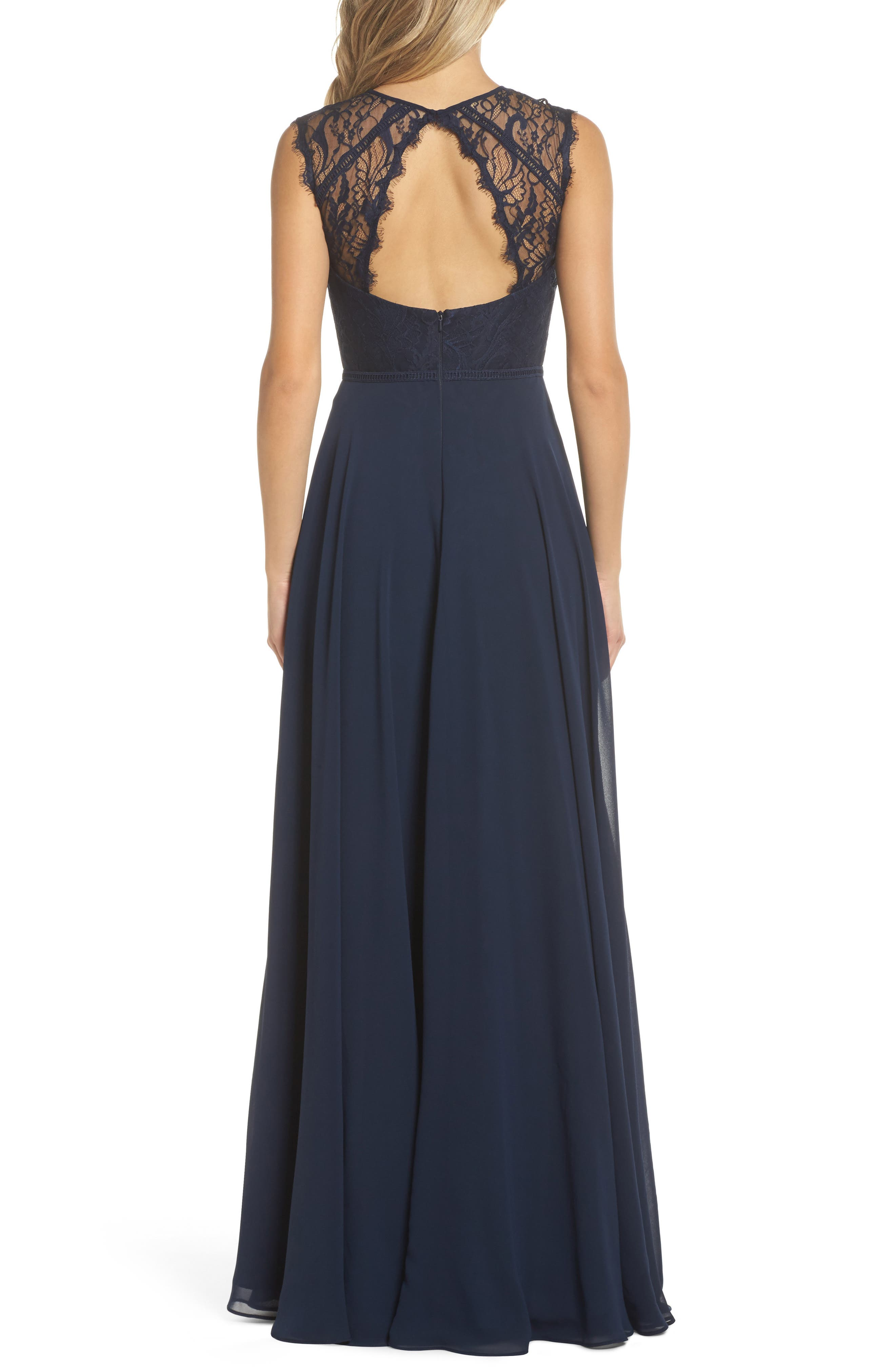 HAYLEY PAIGE OCCASIONS, Lace & Chiffon Gown, Alternate thumbnail 2, color, NAVY
