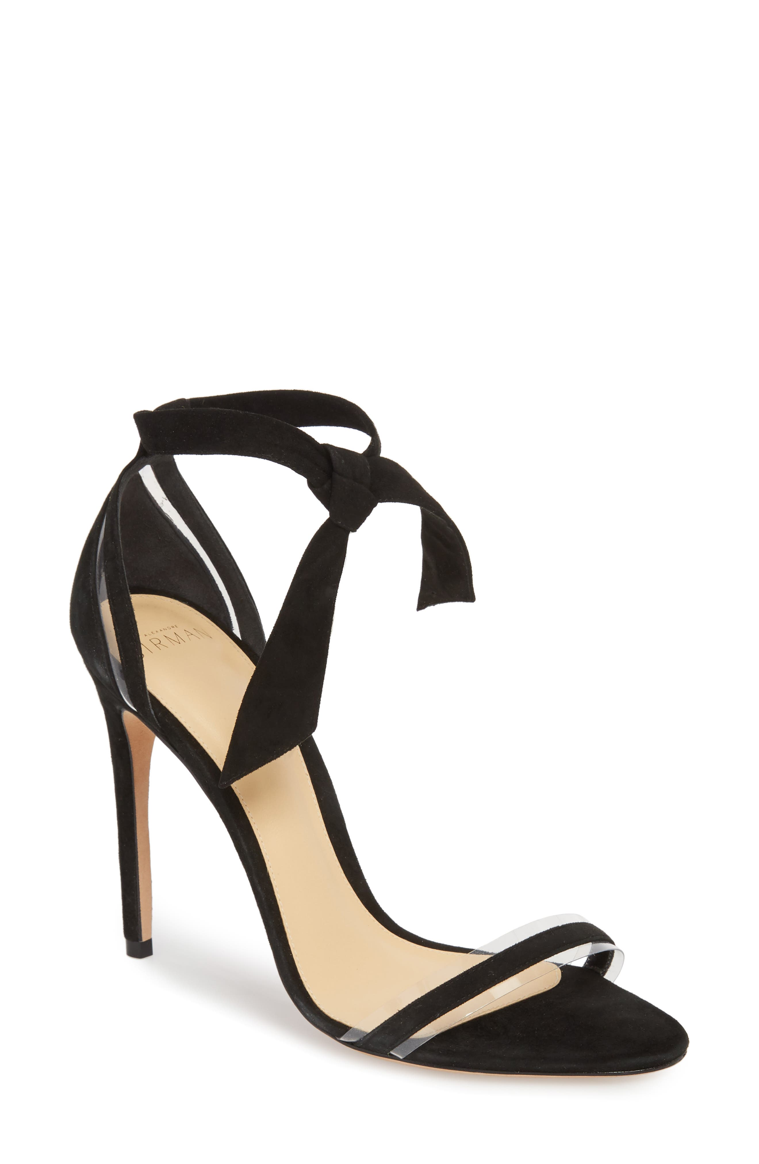 ALEXANDRE BIRMAN, Clarita Clear Ankle Tie Sandal, Main thumbnail 1, color, BLACK/ TRANSPARENT