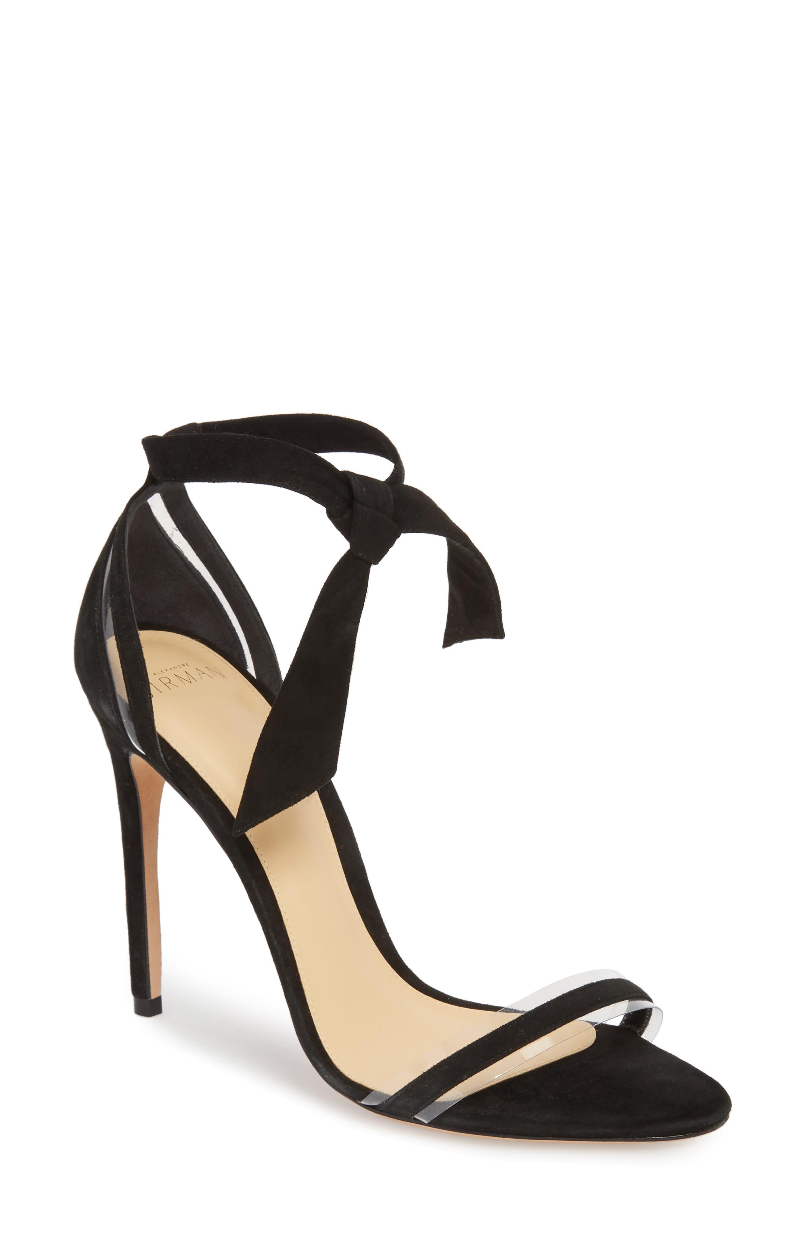 ALEXANDRE BIRMAN Clarita Clear Ankle Tie Sandal, Main, color, BLACK/ TRANSPARENT