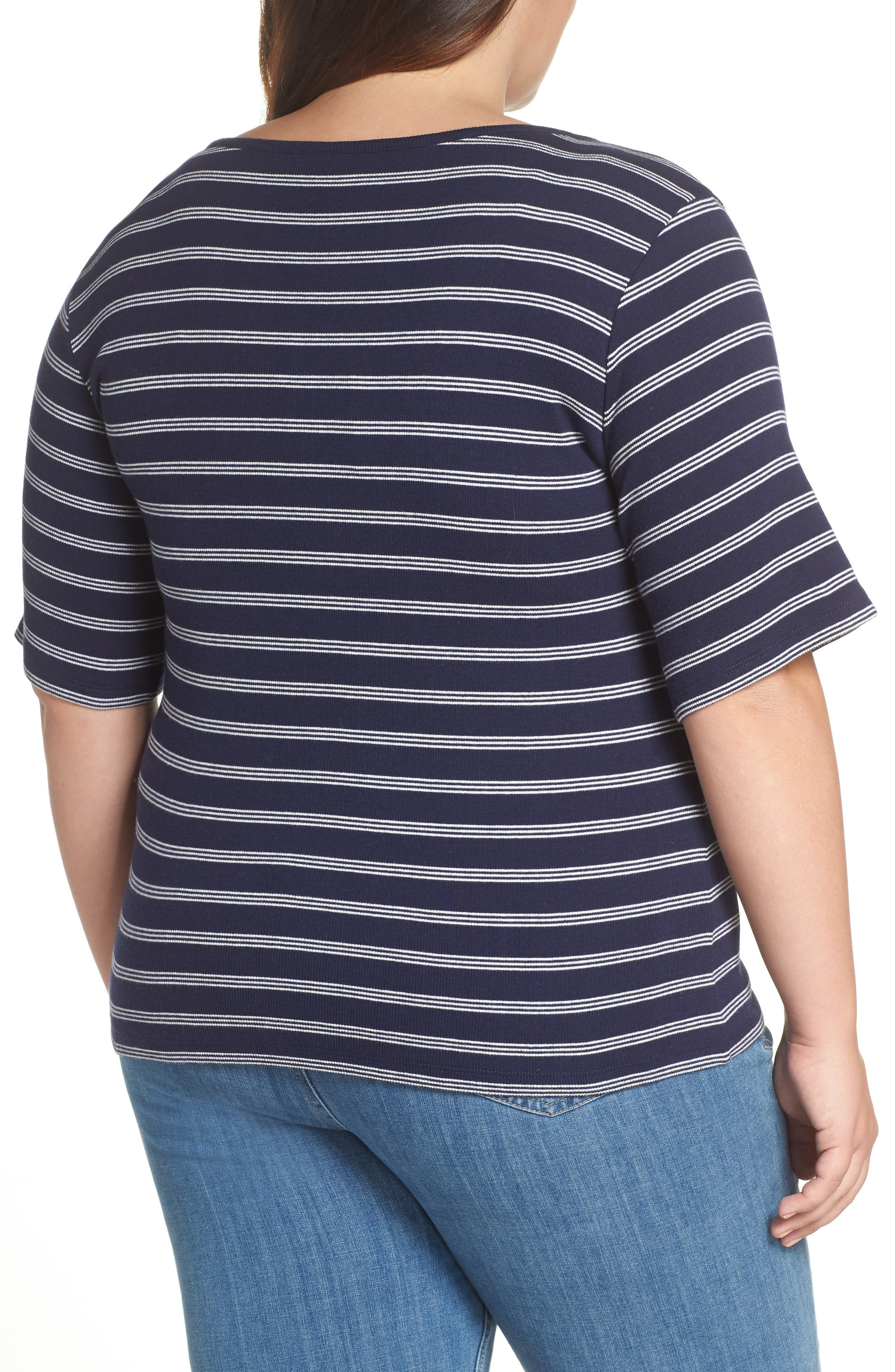 BP., Ribbed Henley Tee, Alternate thumbnail 8, color, NAVY EVENING NANTUCKET STRIPE