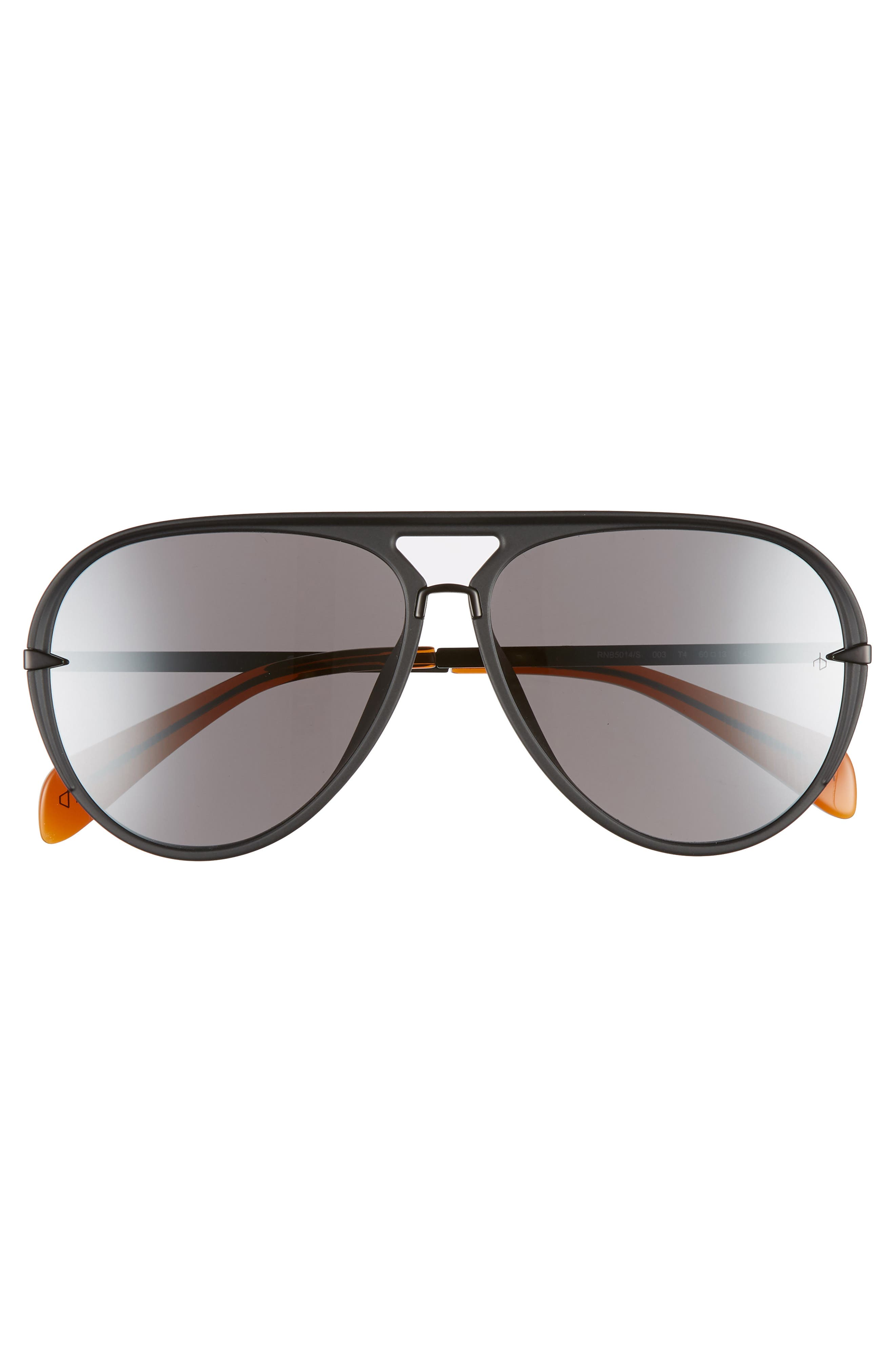 RAG & BONE, 60mm Mirrored Aviator Sunglasses, Alternate thumbnail 3, color, MATTE BLACK