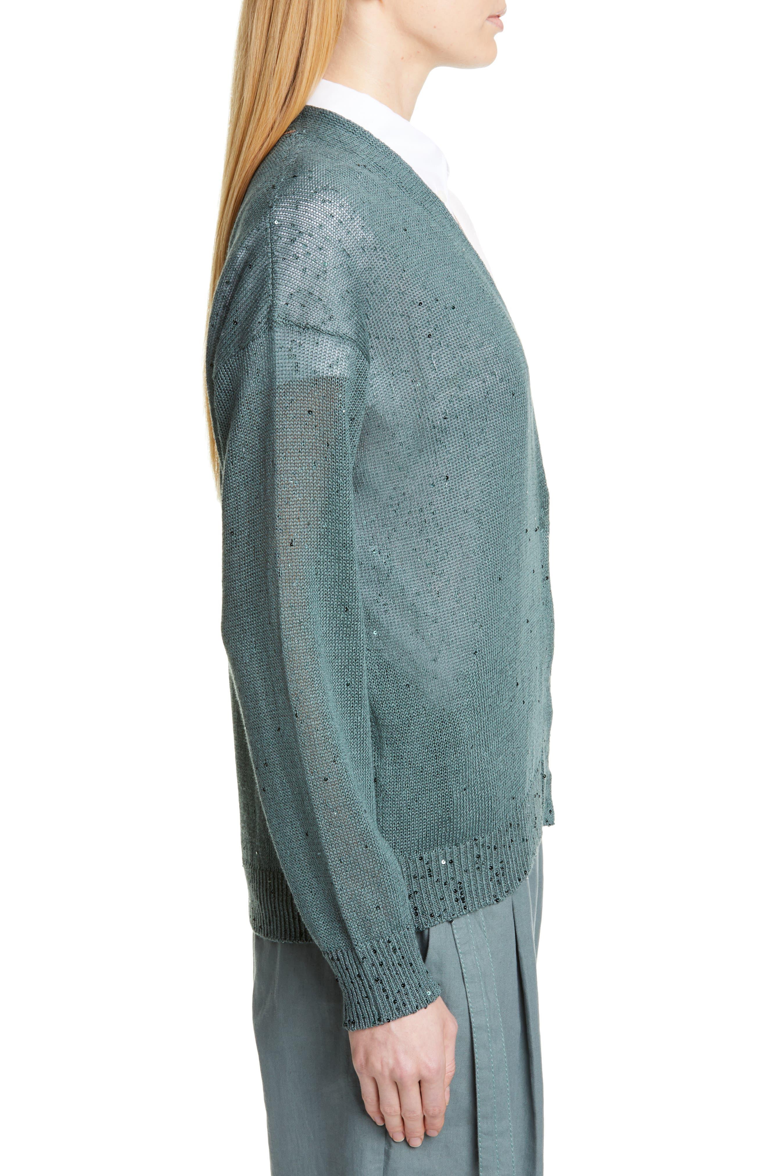 BRUNELLO CUCINELLI, Sequin Linen & Silk Cardigan, Alternate thumbnail 3, color, SAGE