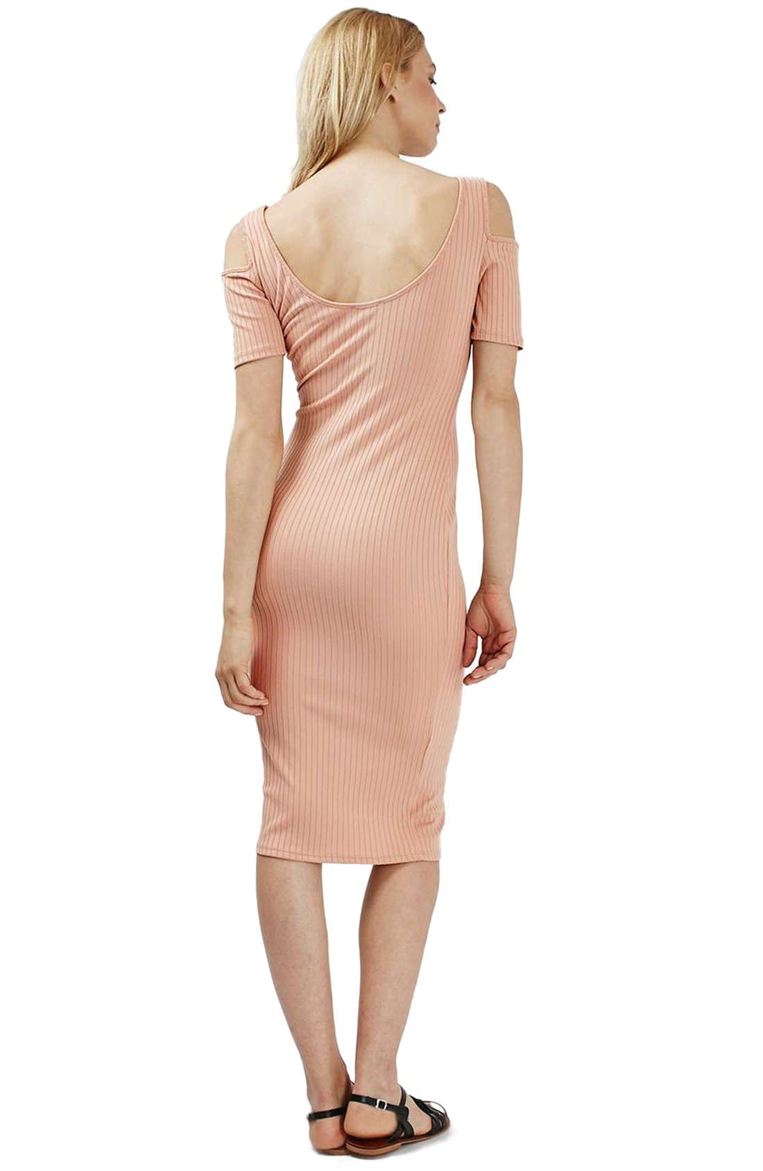 TOPSHOP, Cold Shoulder Ribbed Midi Dress, Alternate thumbnail 2, color, 250
