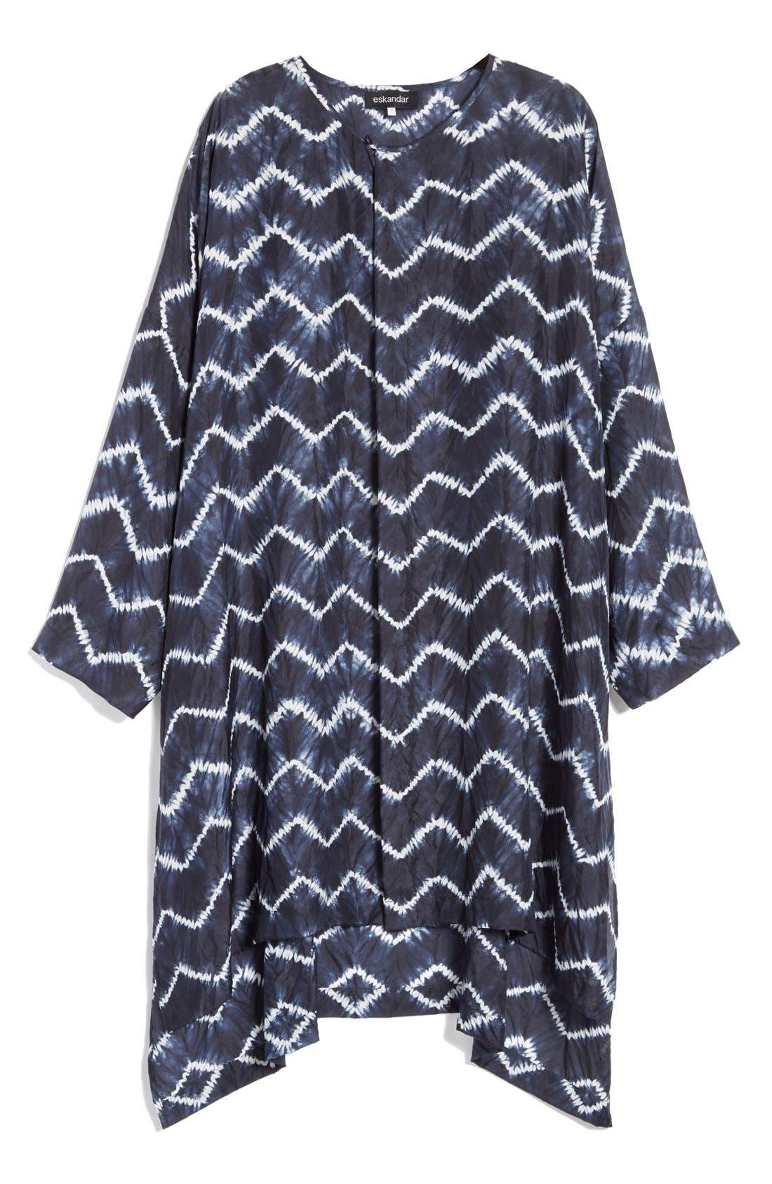 ESKANDAR, Chevron Shibori Silk Tunic, Alternate thumbnail 6, color, 411