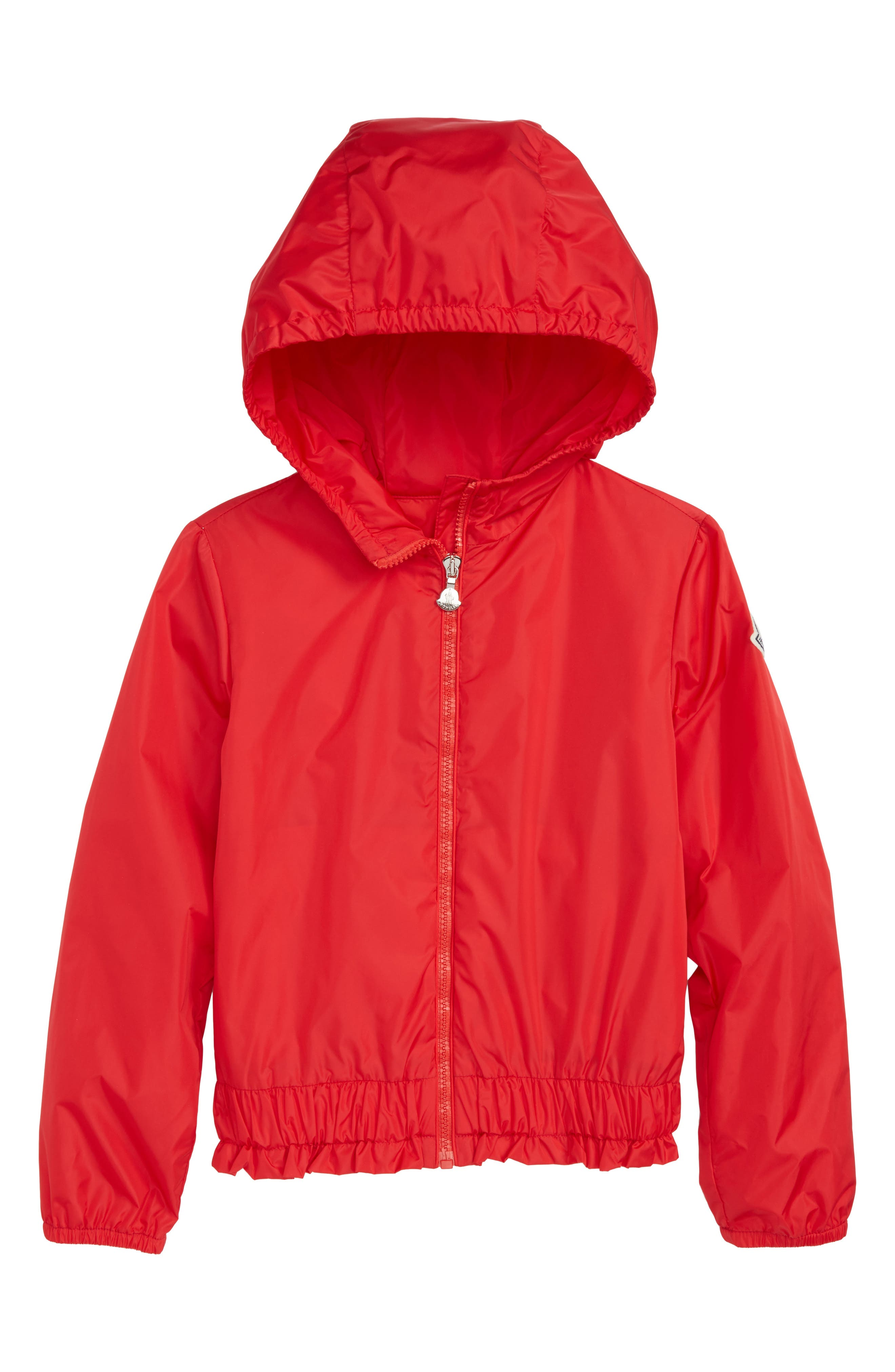 MONCLER, Erina Water Resistant Hooded Windbreaker, Main thumbnail 1, color, RED