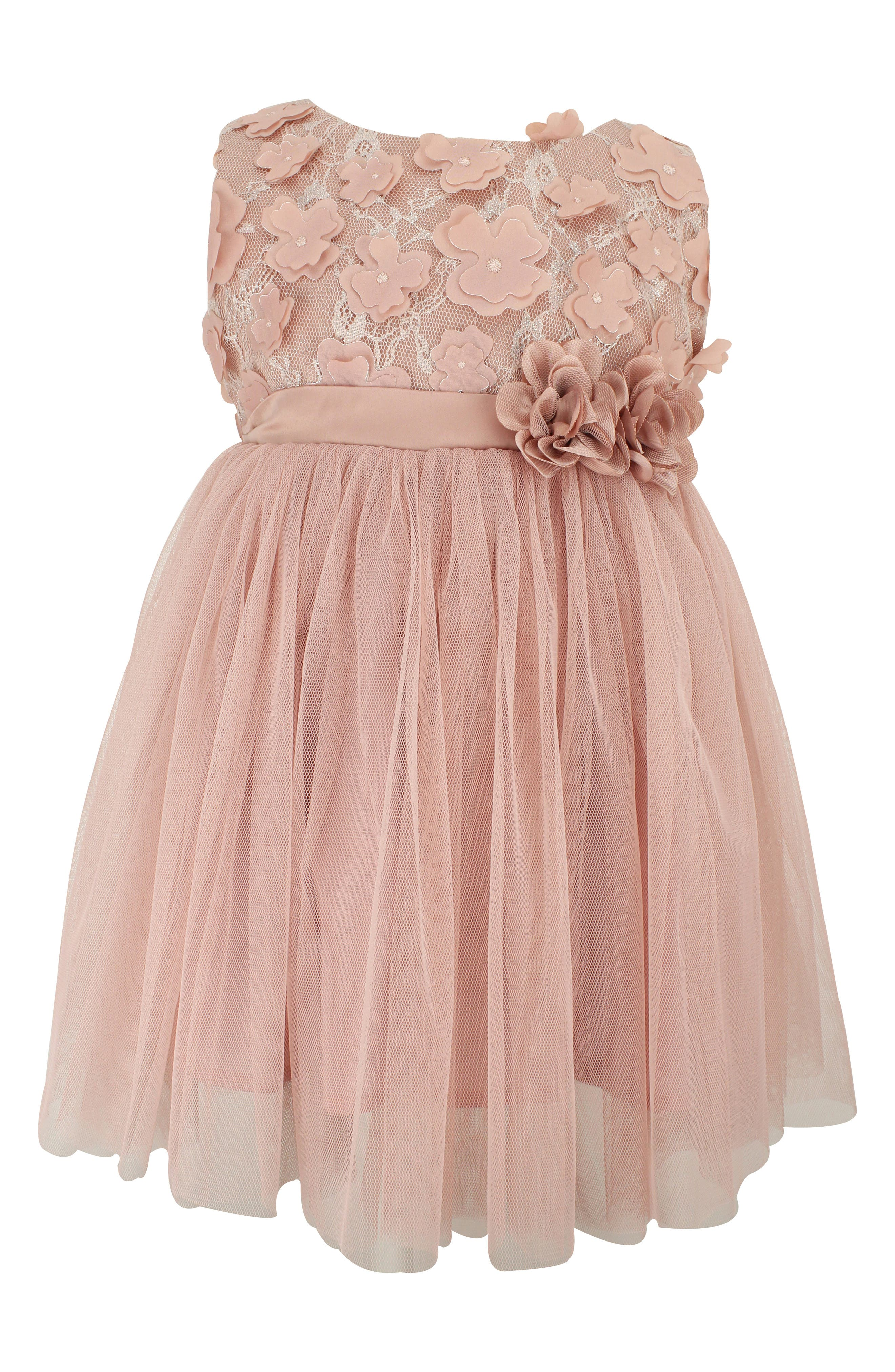 POPATU, Floral Lace & Tulle Dress, Main thumbnail 1, color, DUSTY PINK