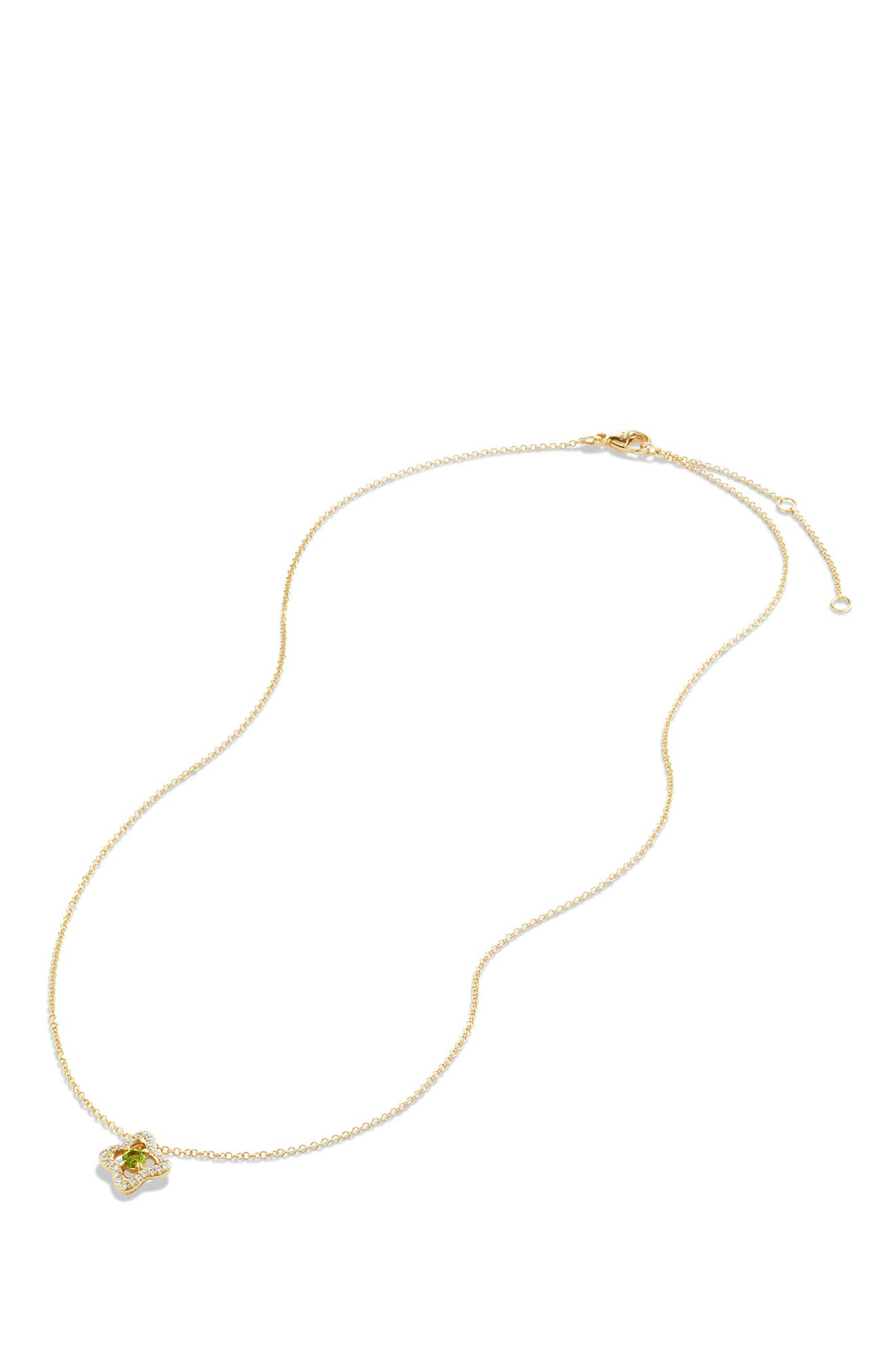 DAVID YURMAN, 'Venetian Quatrefoil' Necklace with Diamonds in 18K Gold, Alternate thumbnail 4, color, PERIDOT