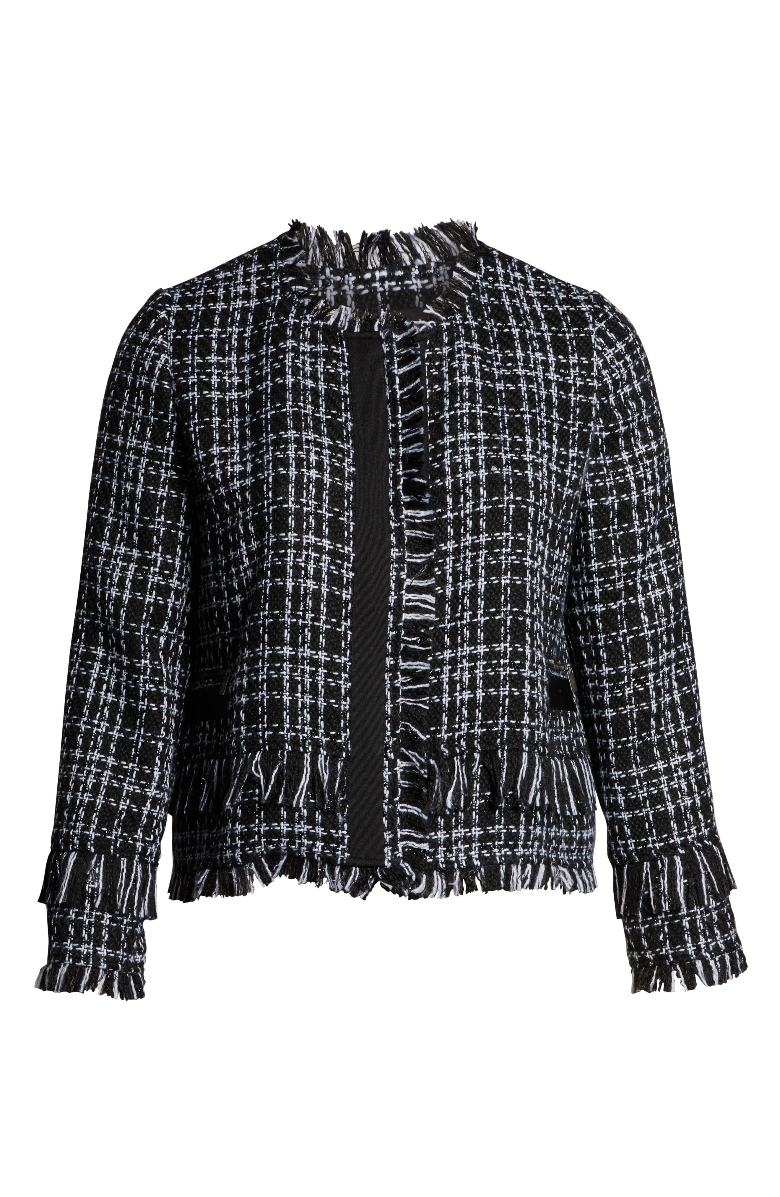 HALOGEN<SUP>®</SUP>, Tweed Fringe Jacket, Alternate thumbnail 6, color, BLACK- WHITE TWEED