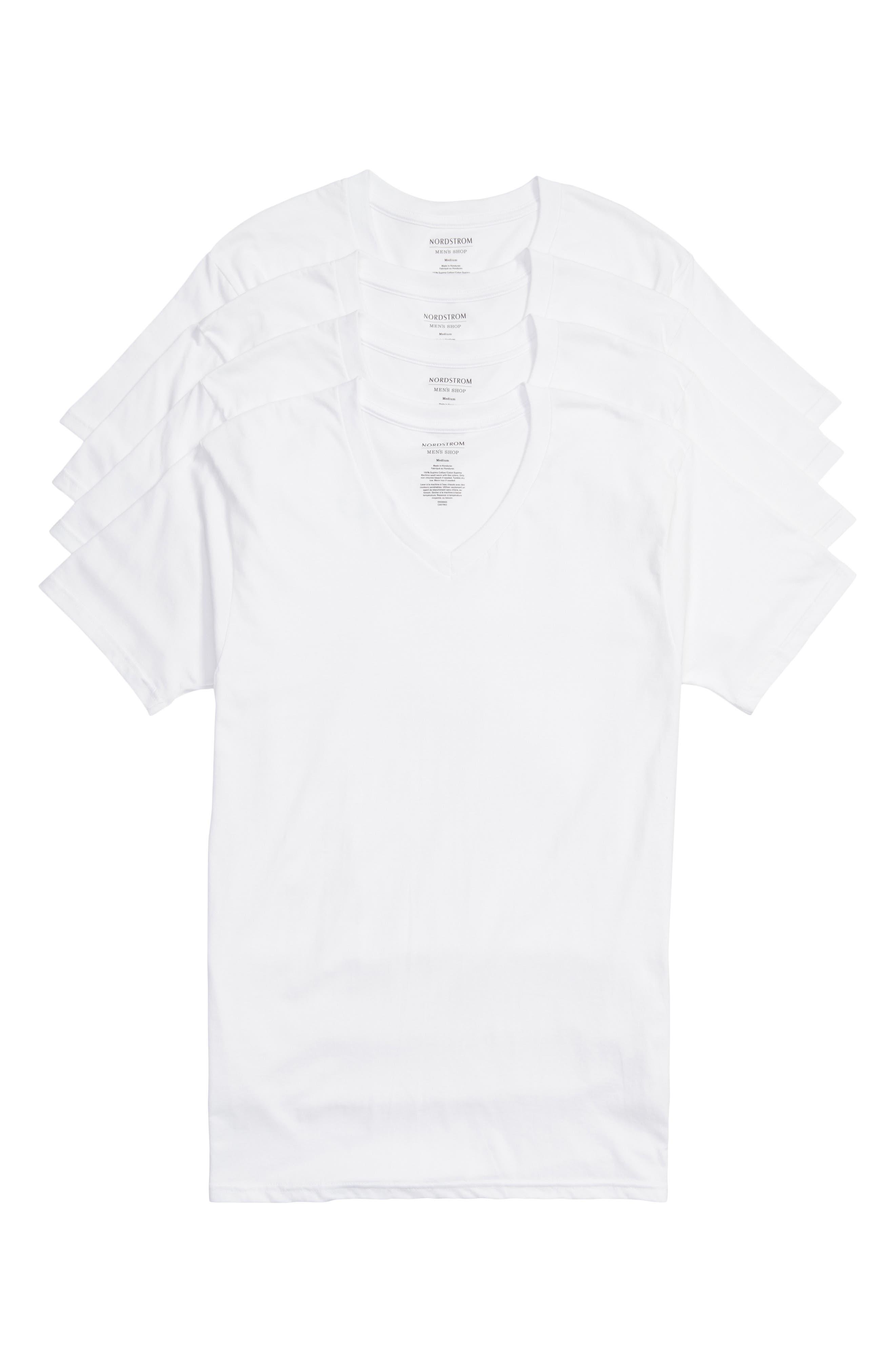 NORDSTROM MEN'S SHOP, 4-Pack Regular Fit Supima<sup>®</sup> Cotton V-Neck T-Shirts, Alternate thumbnail 6, color, WHITE