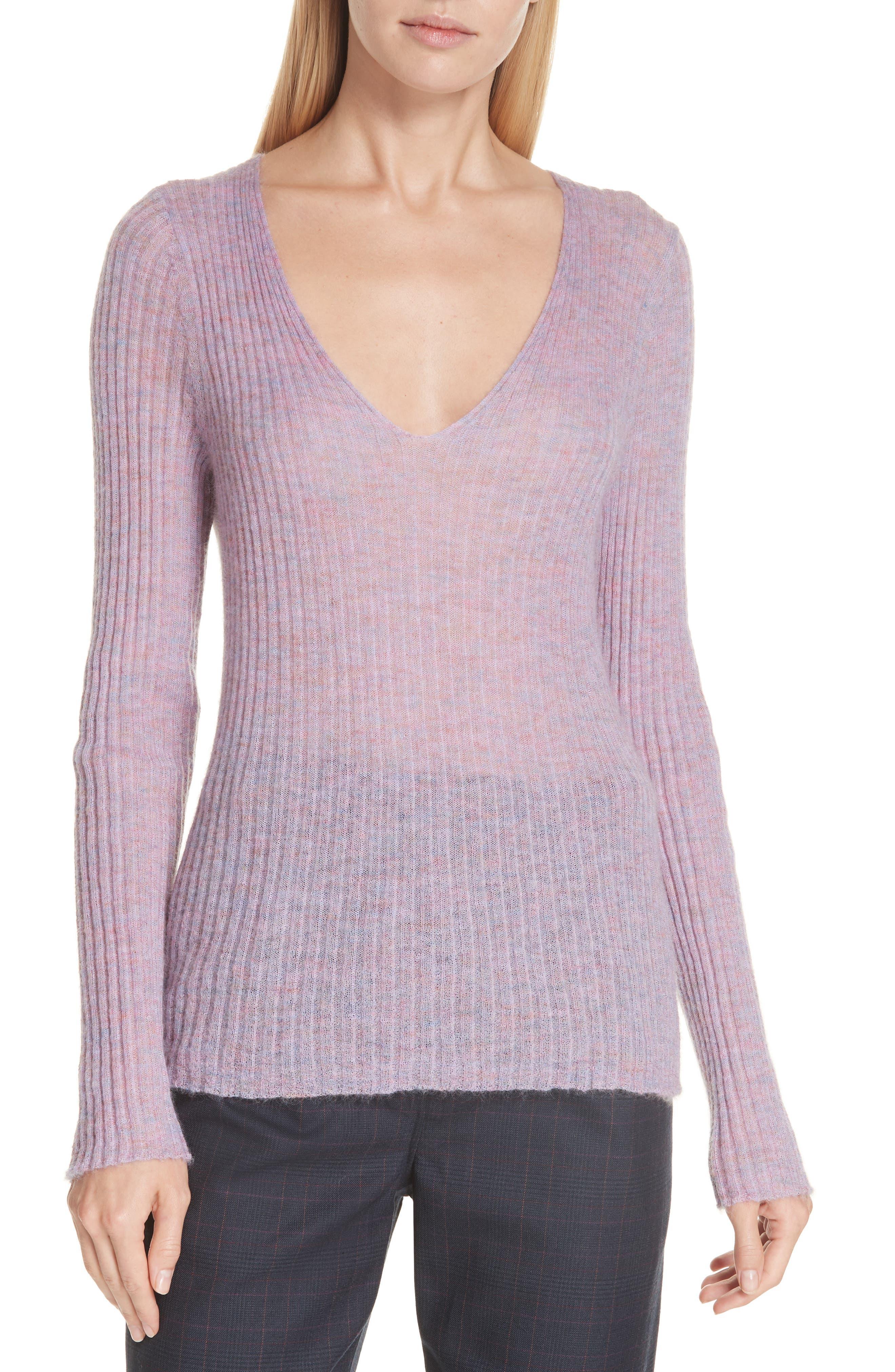 RAG & BONE, Donna Mohair Blend Sweater, Main thumbnail 1, color, LILAC