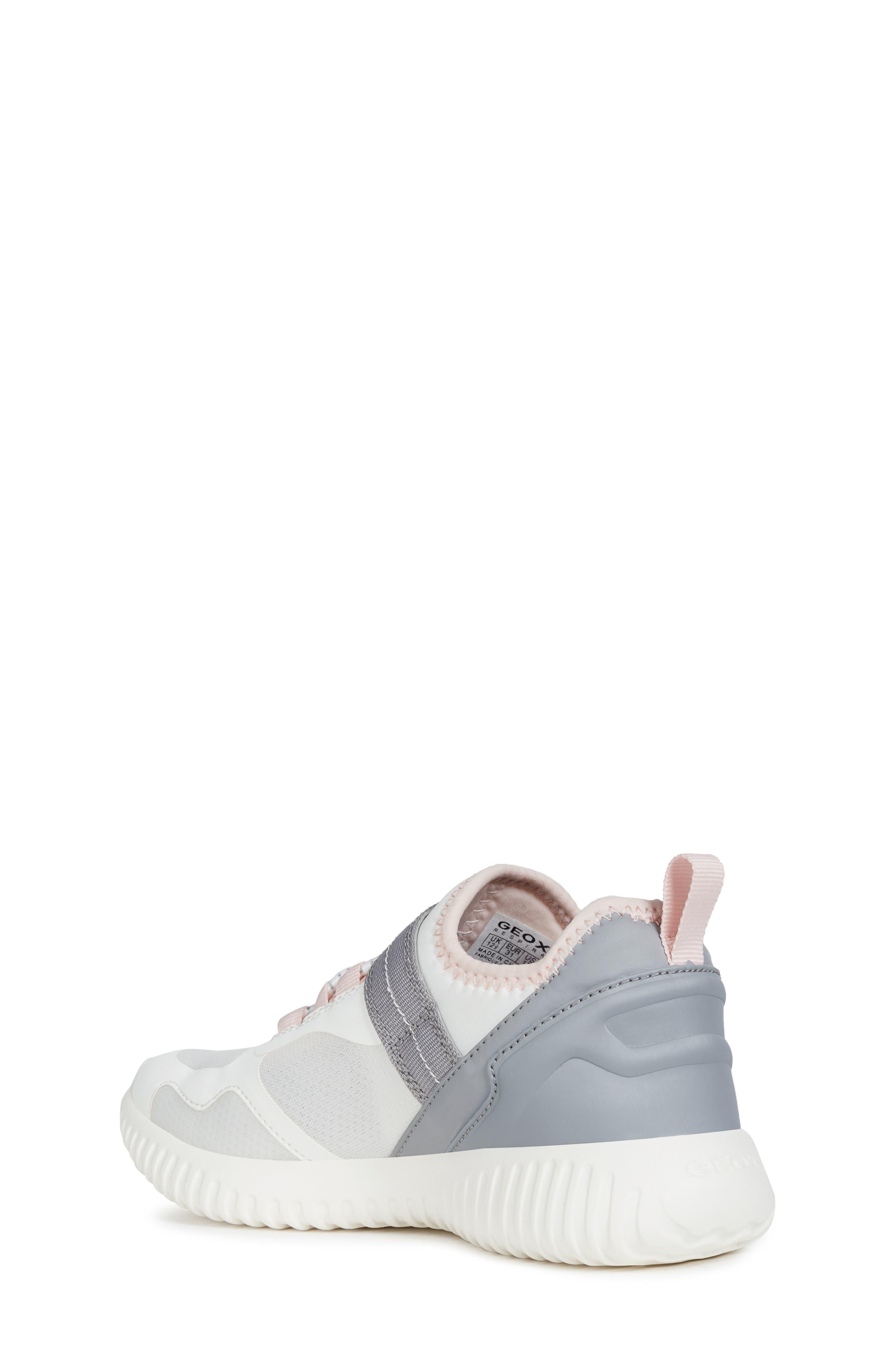 GEOX, Waviness Sneaker, Alternate thumbnail 2, color, WHITE/ GREY