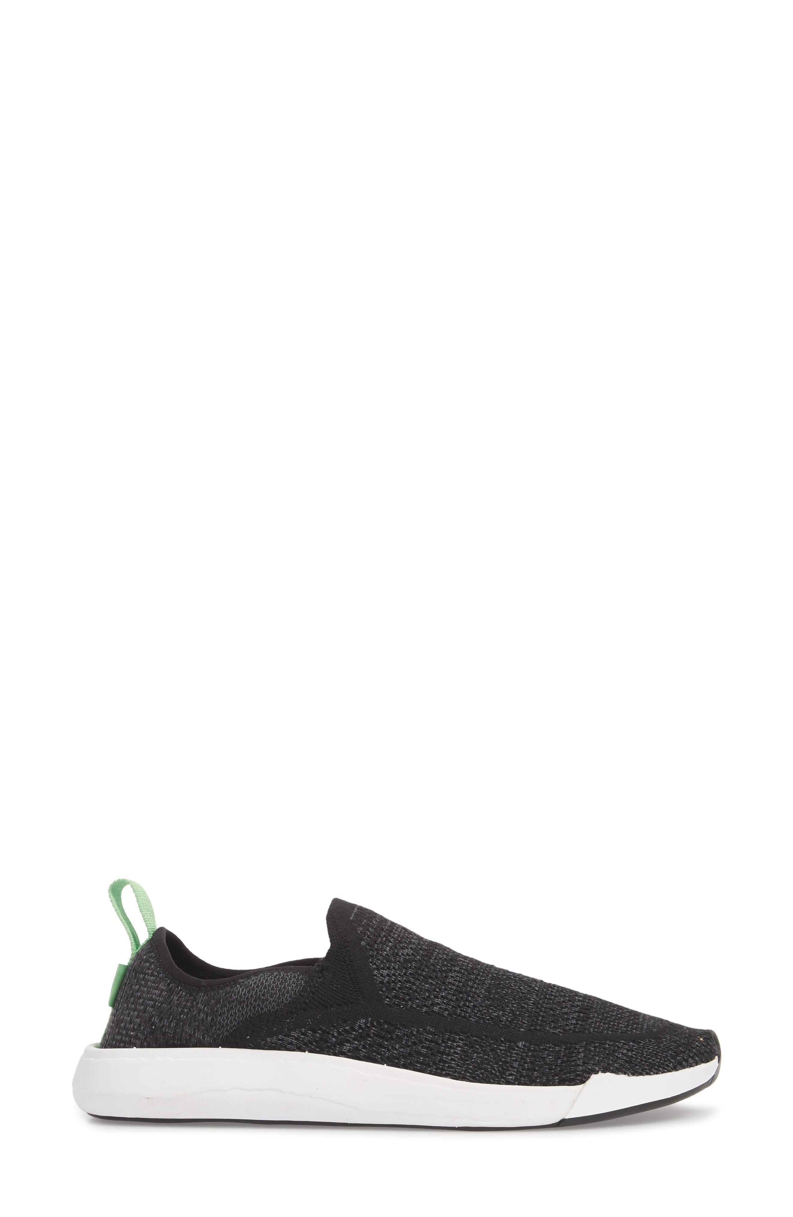 SANUK, Chiba Quest Knit Slip-On Sneaker, Alternate thumbnail 3, color, BLACK