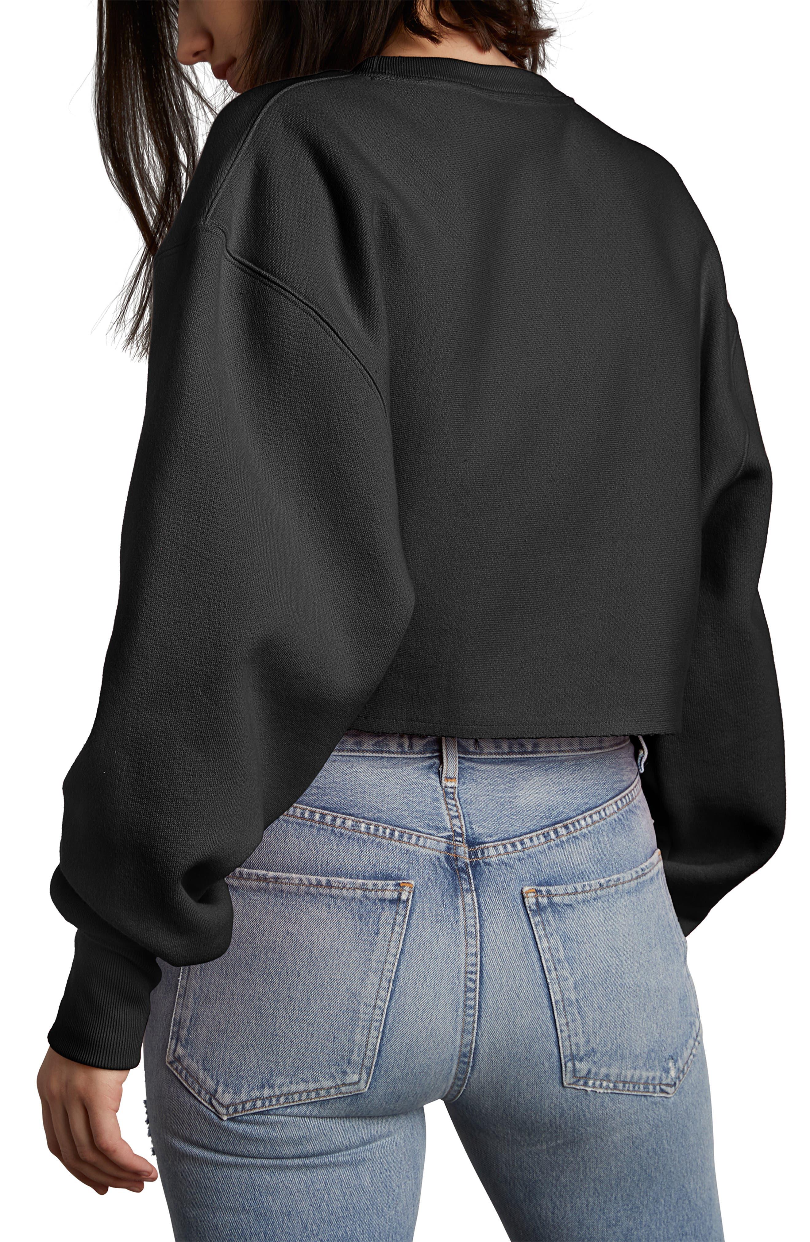 CHAMPION, Crop Reverse Weave Sweatshirt, Alternate thumbnail 2, color, BLACK