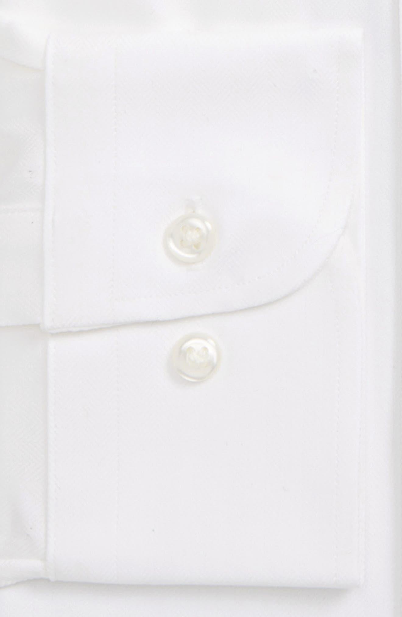 NORDSTROM MEN'S SHOP, Tech-Smart Traditional Fit Stretch Herringbone Dress Shirt, Alternate thumbnail 6, color, WHITE
