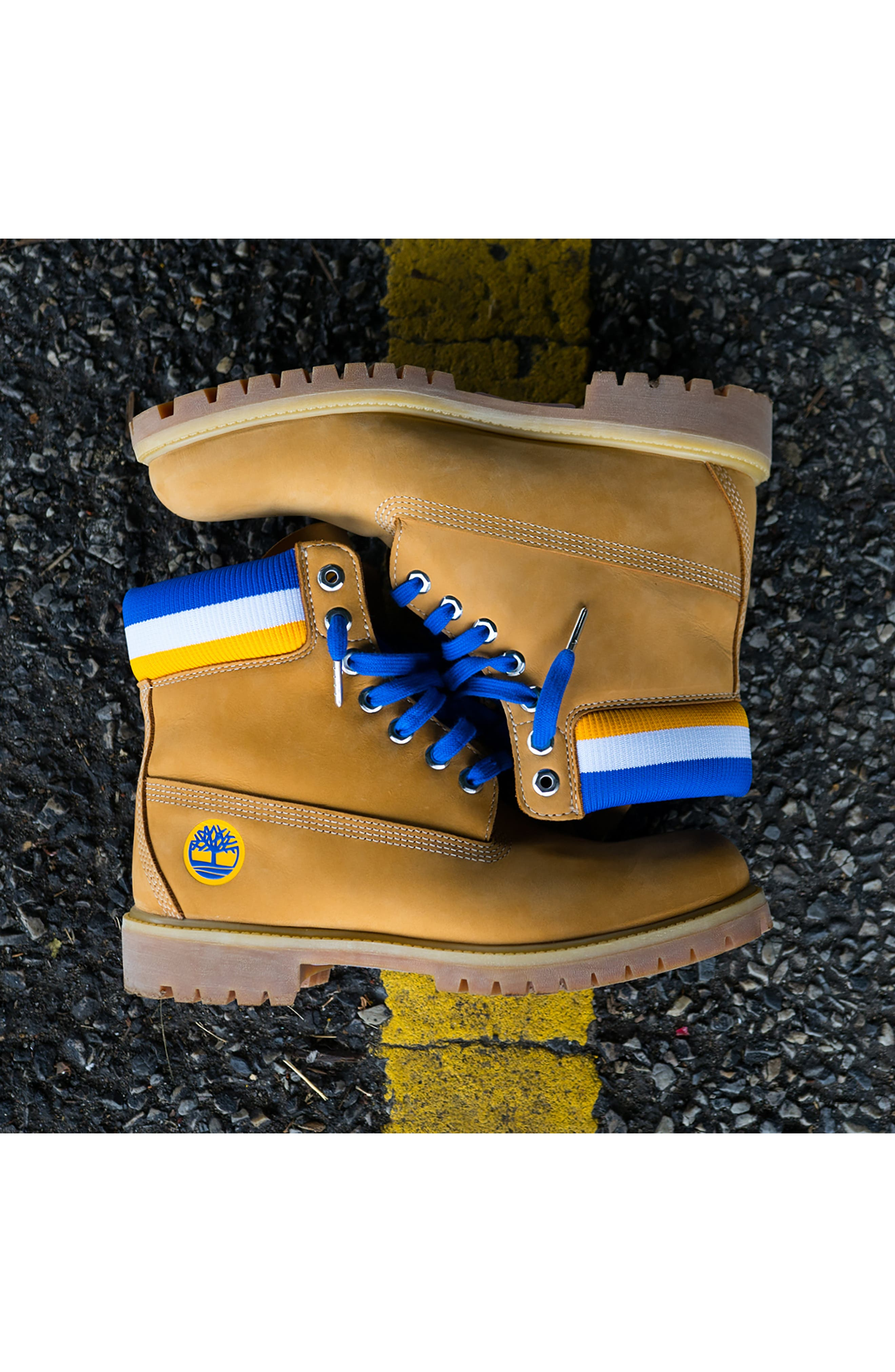 TIMBERLAND, Premium NBA Collection Boot, Alternate thumbnail 11, color, WHEAT NUBUCK/ GOLDEN STATE