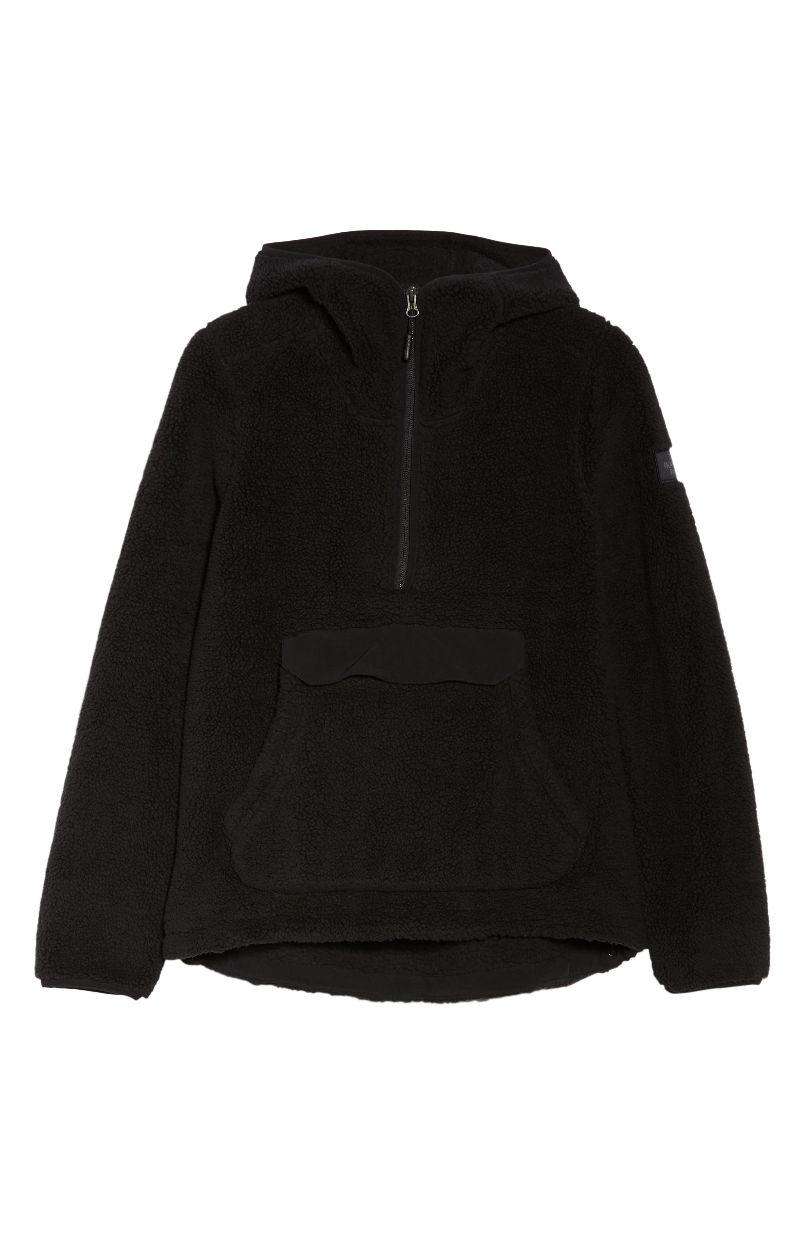 THE NORTH FACE, Campshire High Pile Fleece Pullover Hoodie, Alternate thumbnail 6, color, TNF BLACK