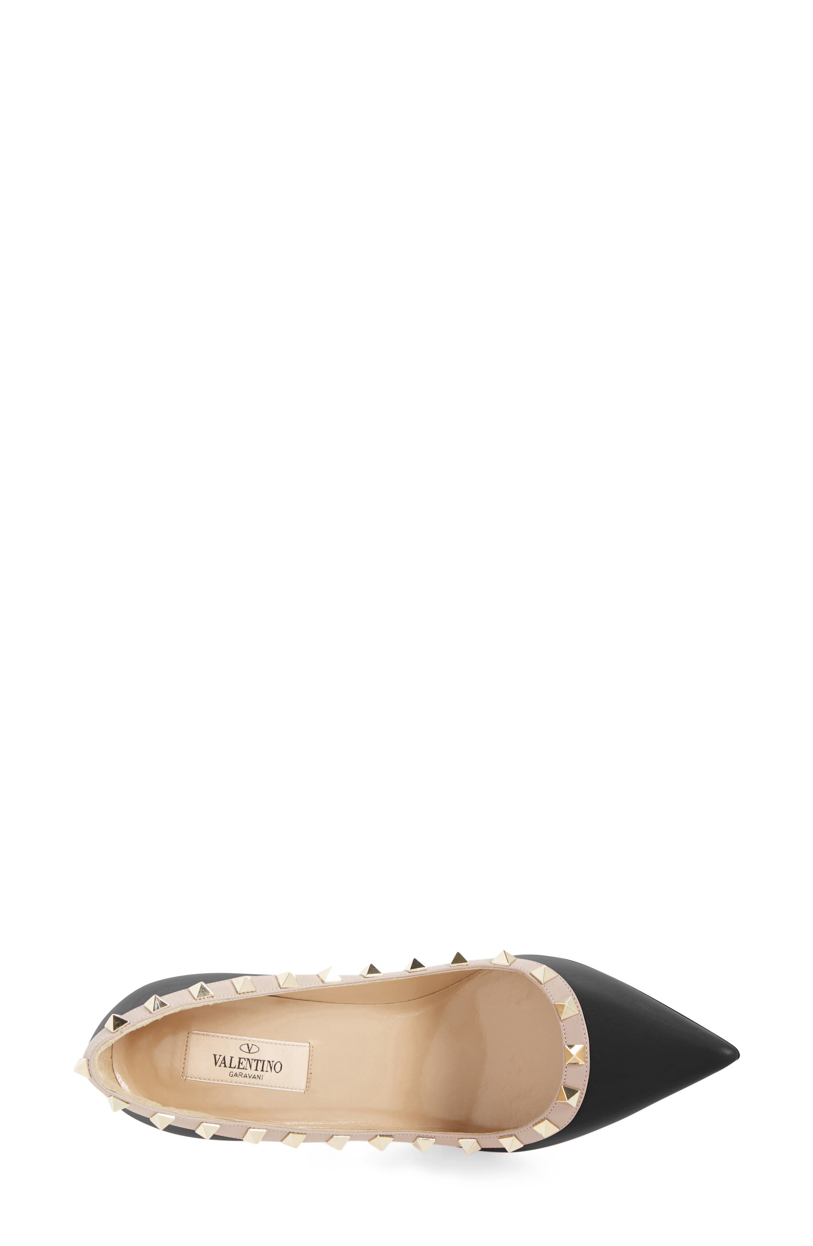 VALENTINO GARAVANI, Rockstud Pointy Toe Pump, Alternate thumbnail 3, color, BLACK/ NUDE LEATHER