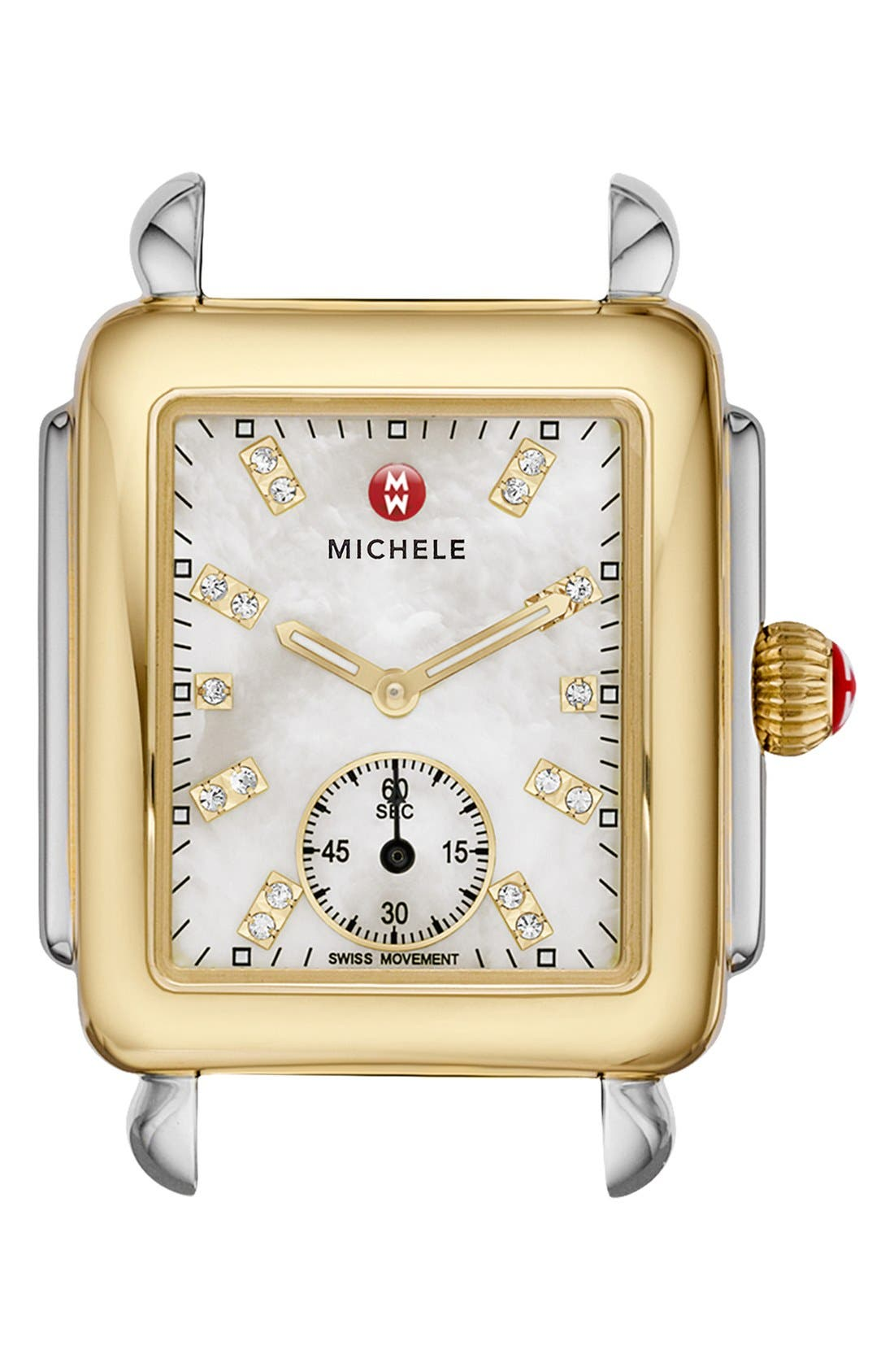 MICHELE Deco 16 Diamond Dial Two-Tone Watch Case, 29mm x 31mm, Main, color, GOLD/ SILVER