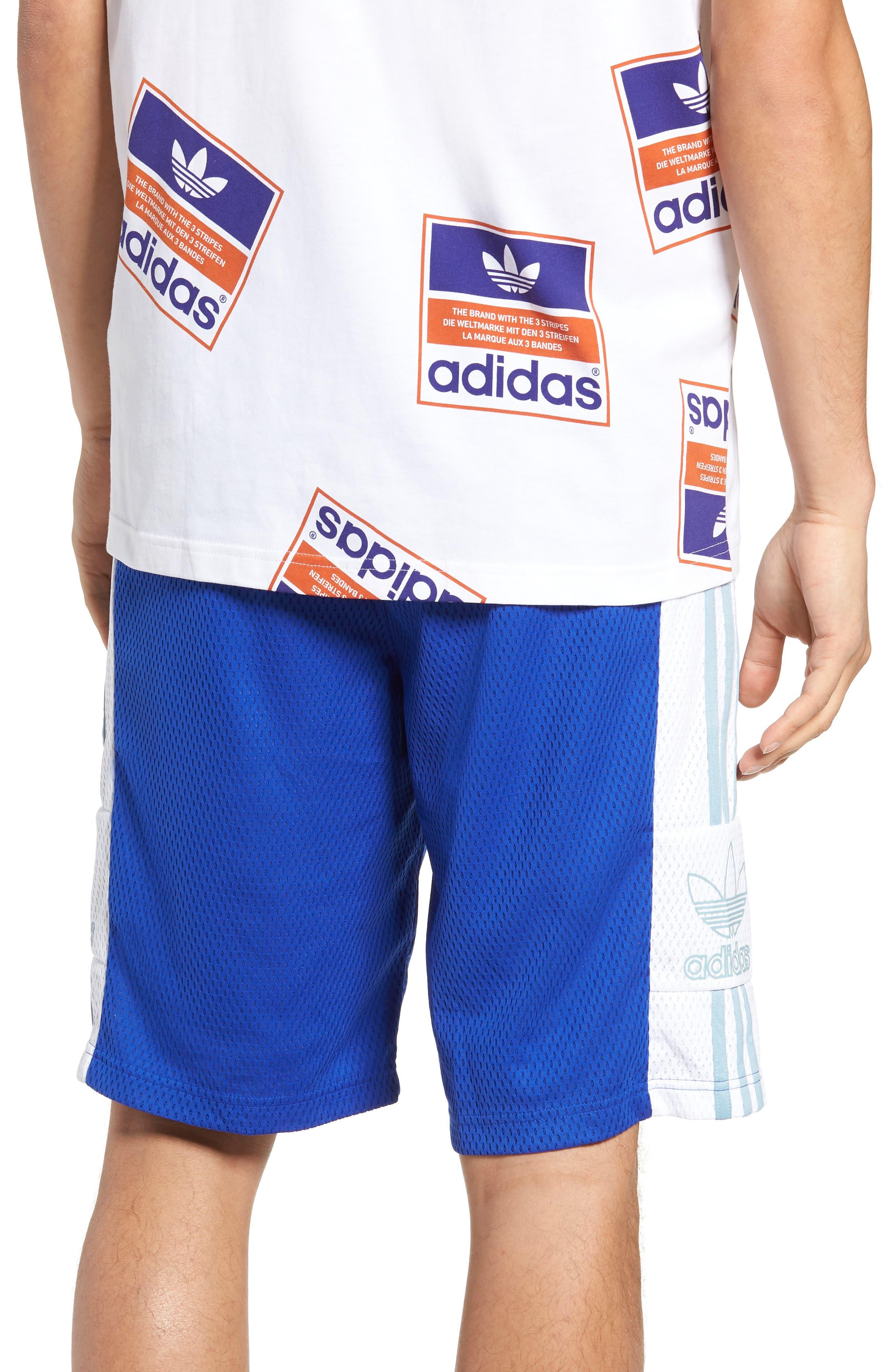 ADIDAS ORIGINALS, Mesh Athletic Shorts, Alternate thumbnail 2, color, BOLD BLUE/ WHITE