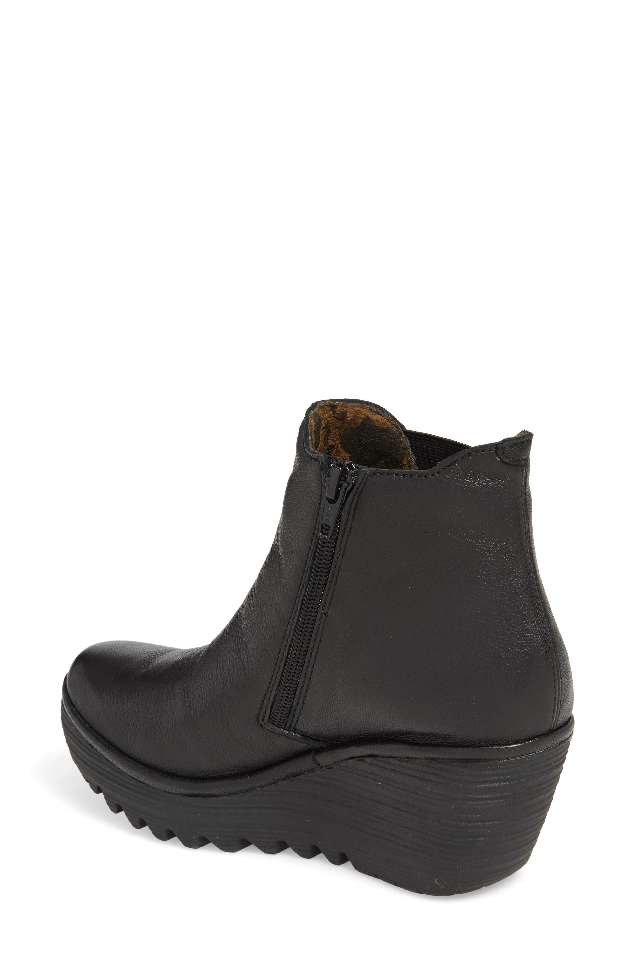 FLY LONDON, Yozo Wedge Boot, Alternate thumbnail 2, color, BLACK