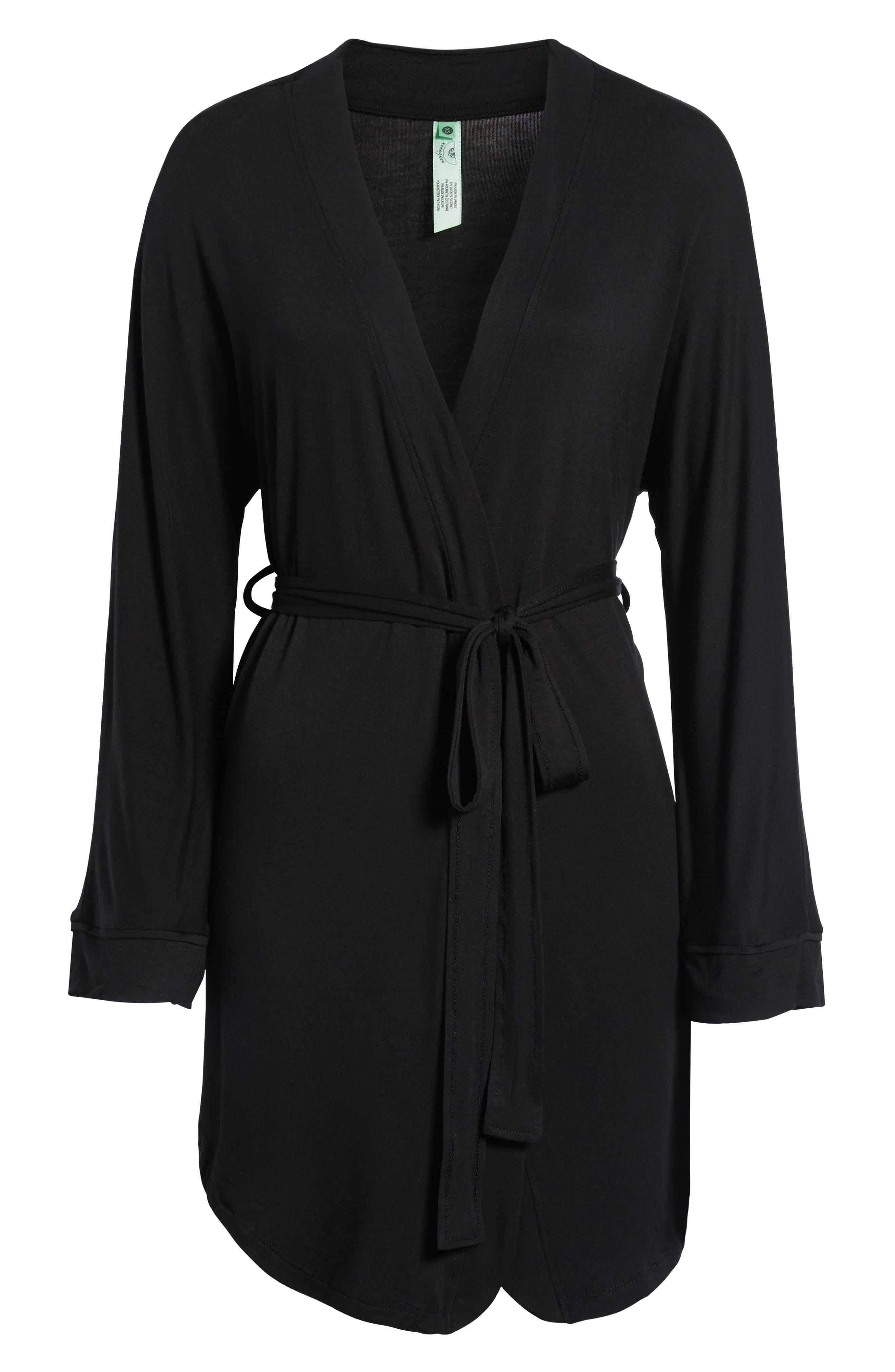 HONEYDEW INTIMATES, All American Jersey Robe, Alternate thumbnail 2, color, BLACK