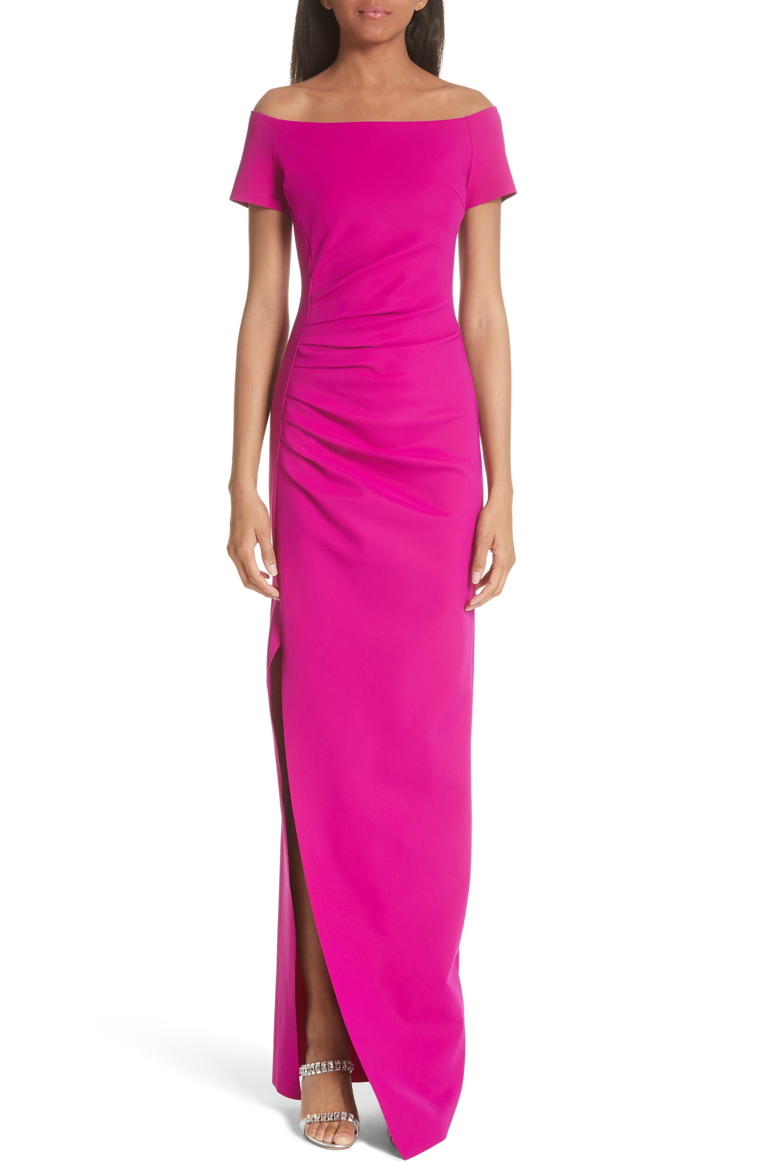 Chiara Boni La Petite Robe Divis Off The Shoulder Column Gown, 6 IT - Pink