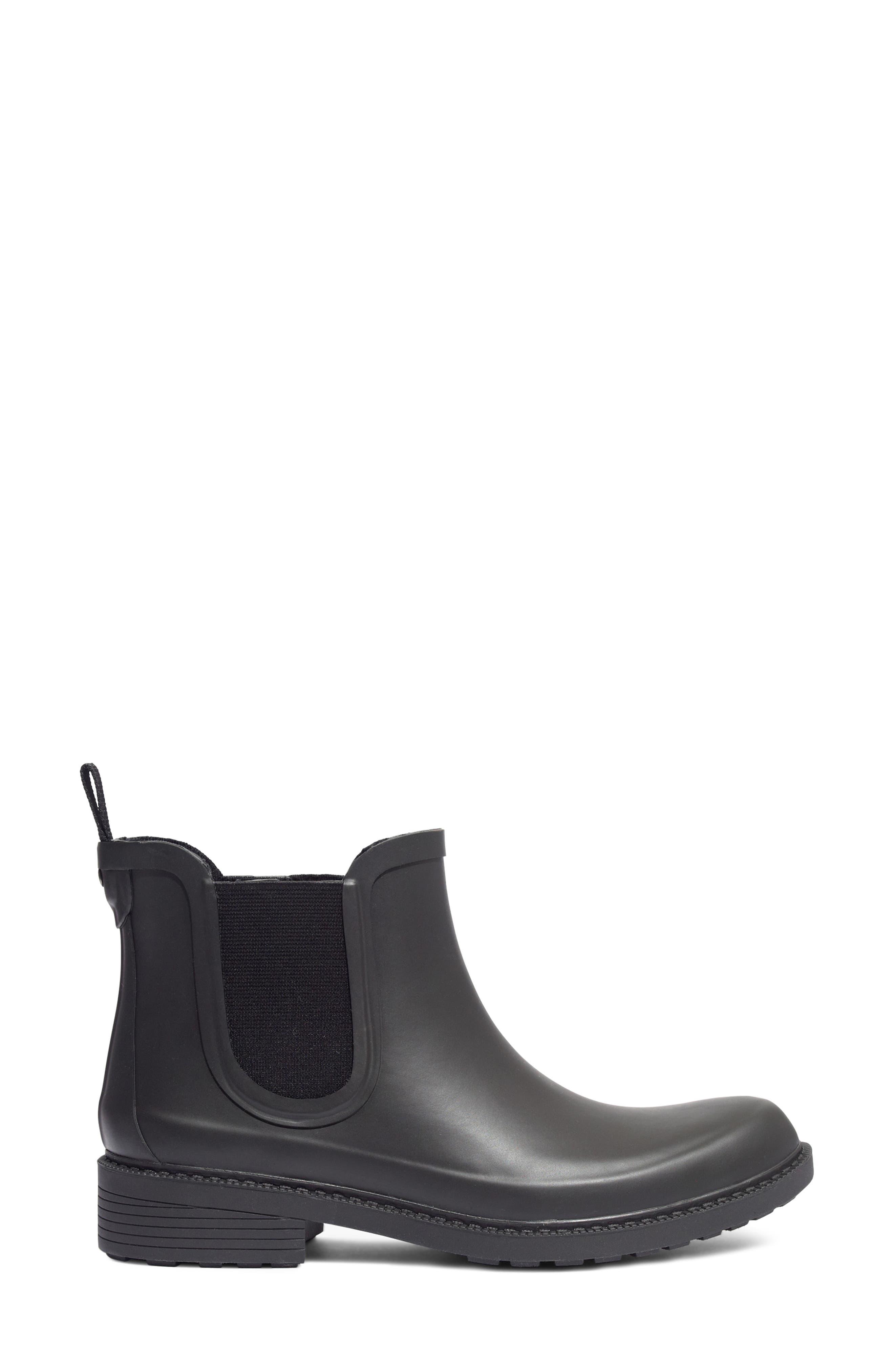 MADEWELL, The Chelsea Rain Boot, Alternate thumbnail 3, color, TRUE BLACK RUBBER