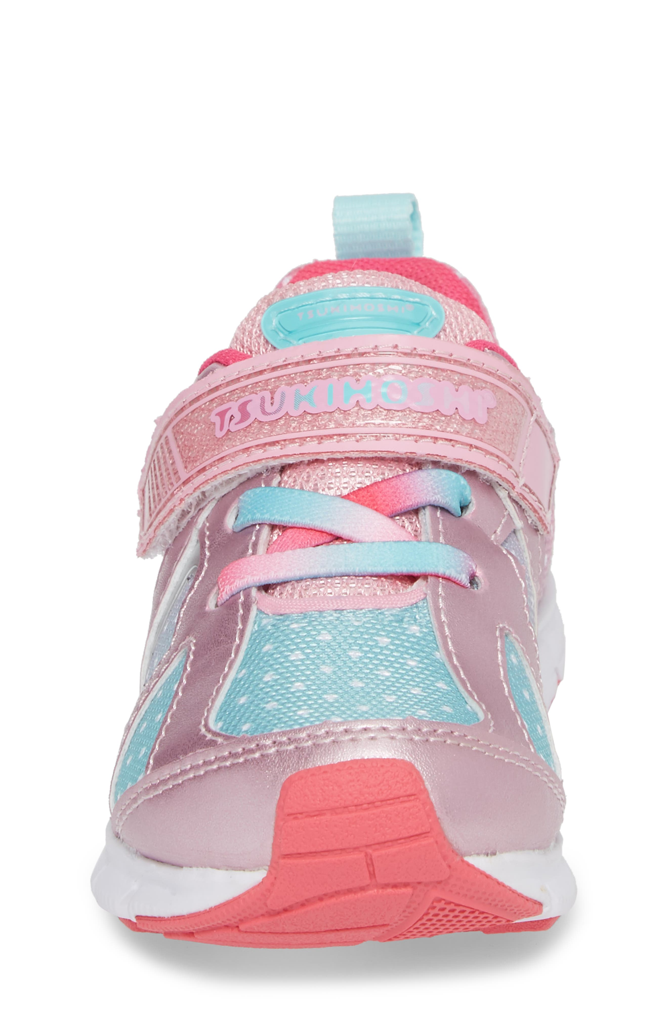 TSUKIHOSHI, Rainbow Washable Sneaker, Alternate thumbnail 4, color, ROSE/ MINT