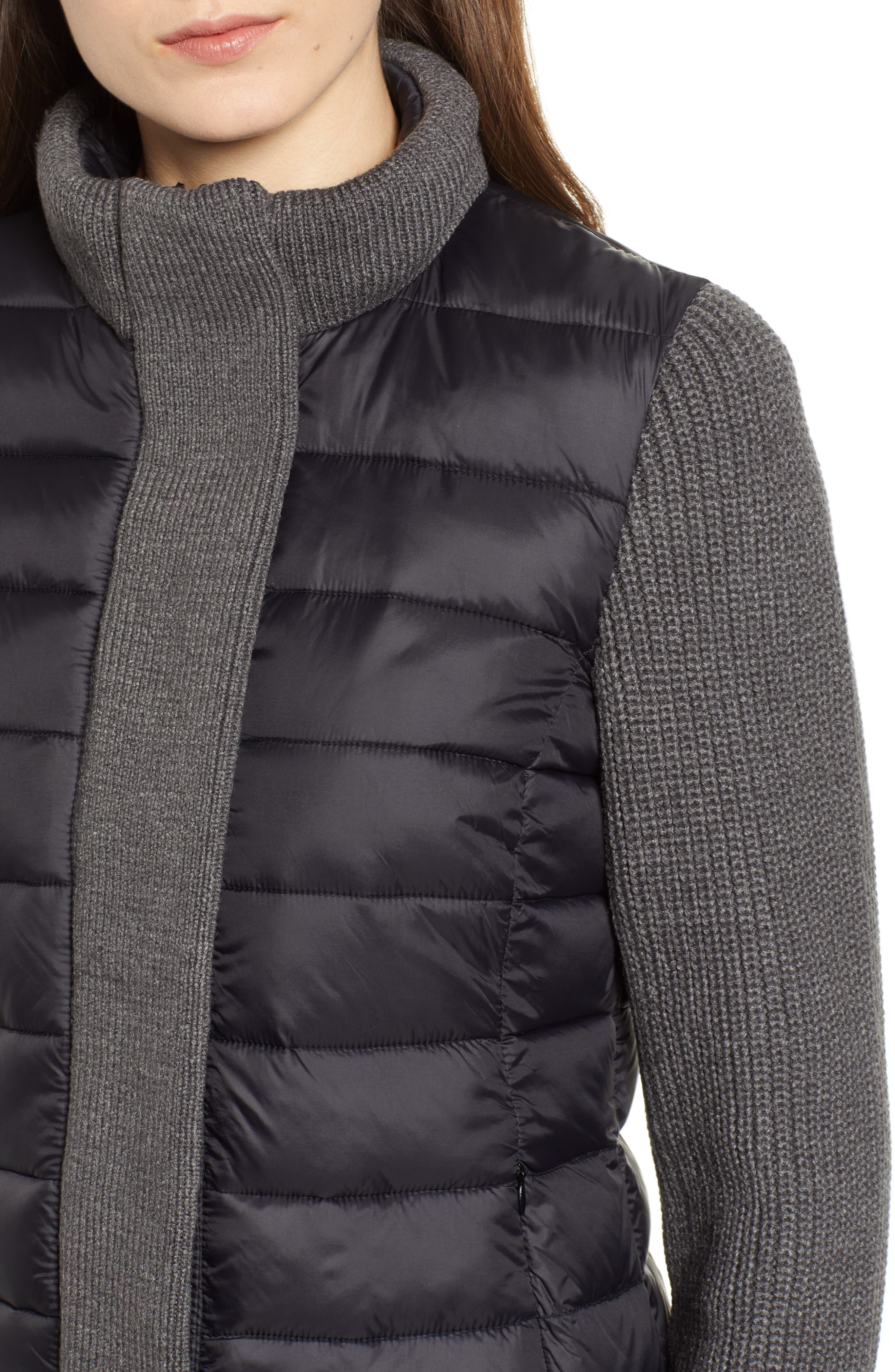MARC NEW YORK, Mark New York Packable Knit Trim Puffer Jacket, Alternate thumbnail 5, color, BLACK/ GREY