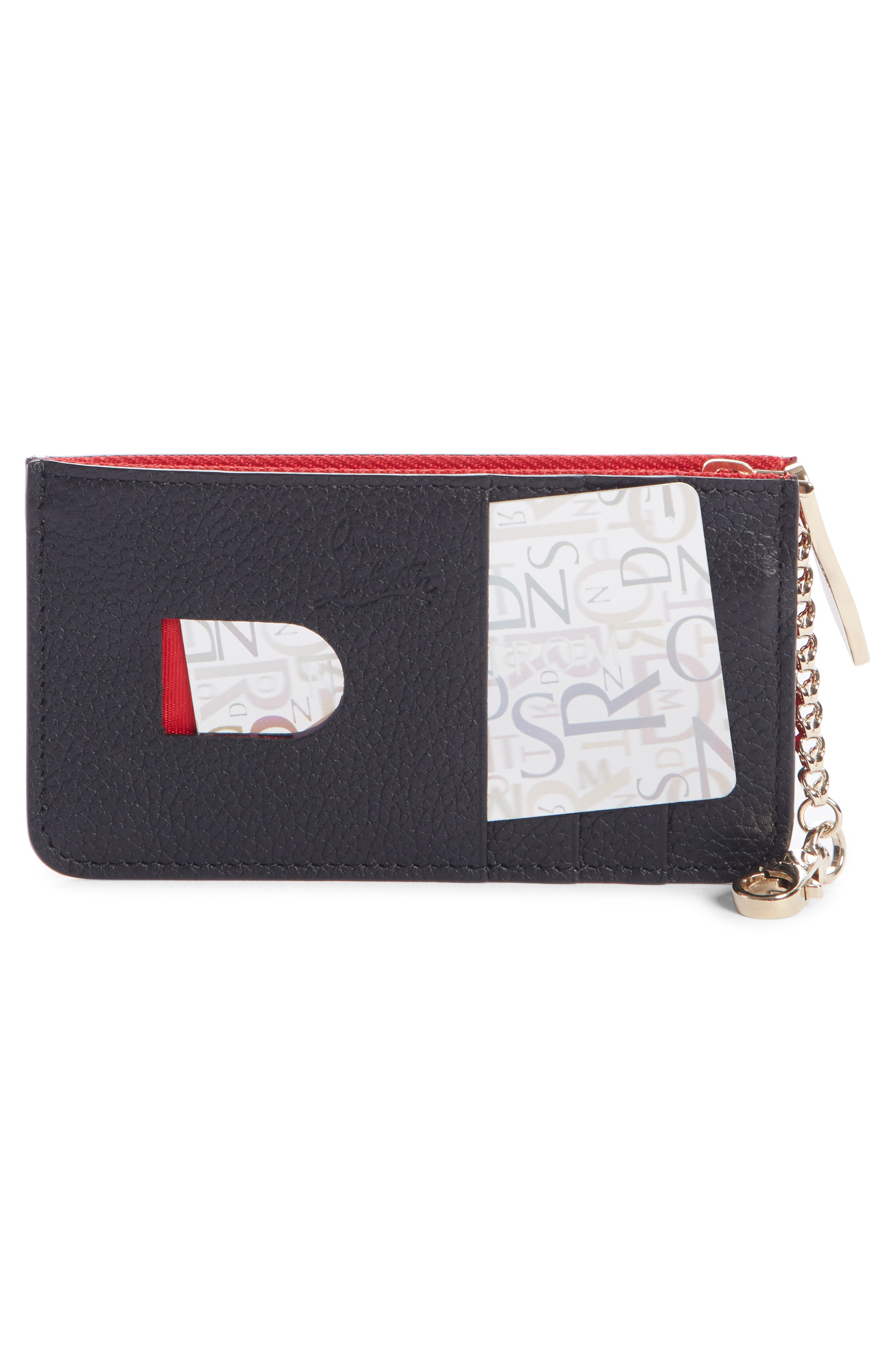 CHRISTIAN LOUBOUTIN, Credilou Calfskin Leather Zip Card Case, Alternate thumbnail 2, color, BLACK/ GOLD