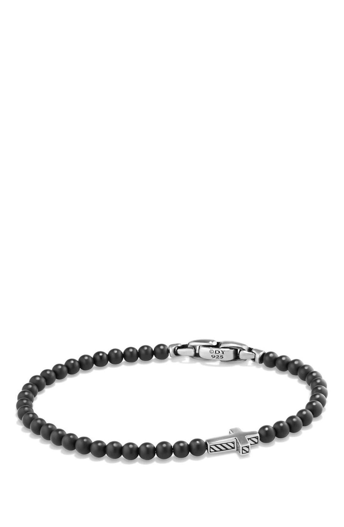 DAVID YURMAN, 'Spiritual Beads' Cross Bead Bracelet with Semiprecious Stones, Main thumbnail 1, color, SILVER/ BLACK ONYX