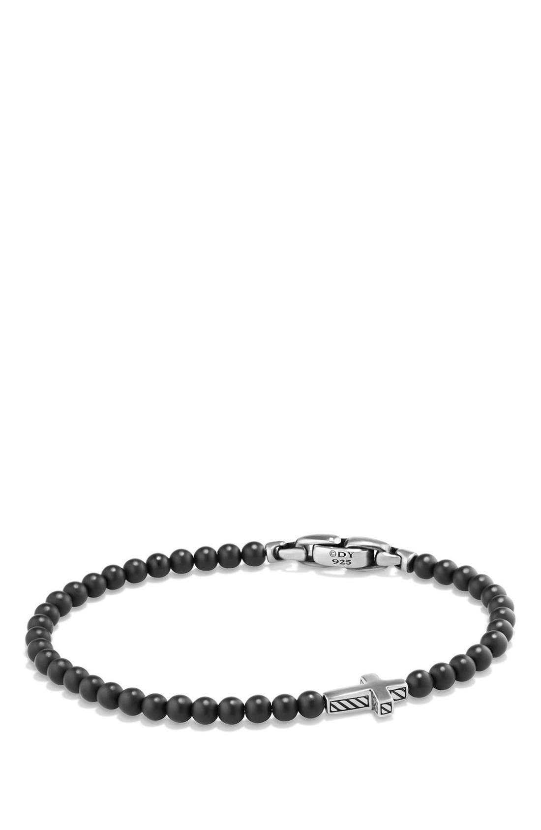 DAVID YURMAN 'Spiritual Beads' Cross Bead Bracelet with Semiprecious Stones, Main, color, SILVER/ BLACK ONYX