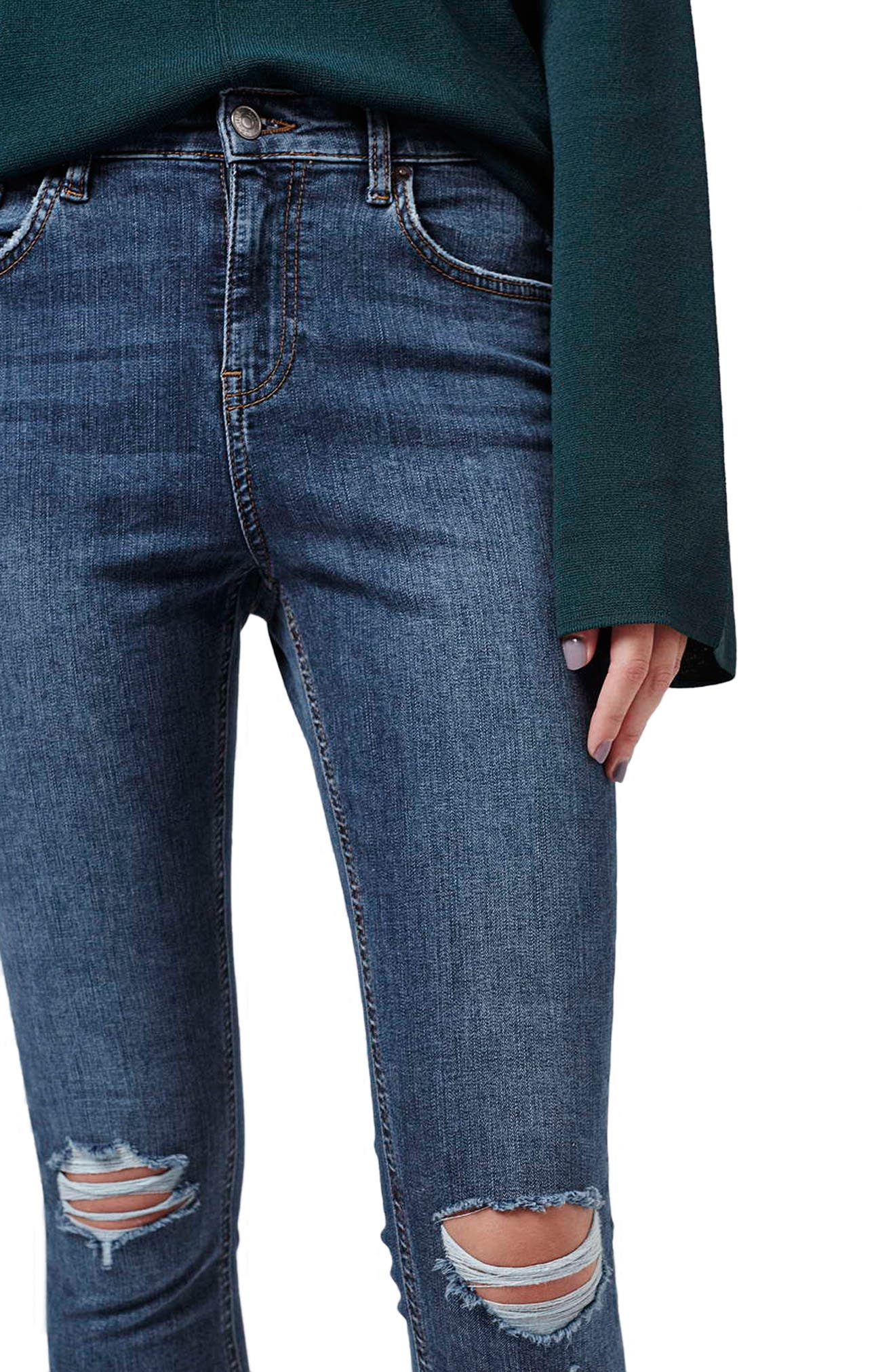 TOPSHOP, Moto 'Jamie' Ripped Skinny Ankle Jeans, Alternate thumbnail 5, color, MID DENIM