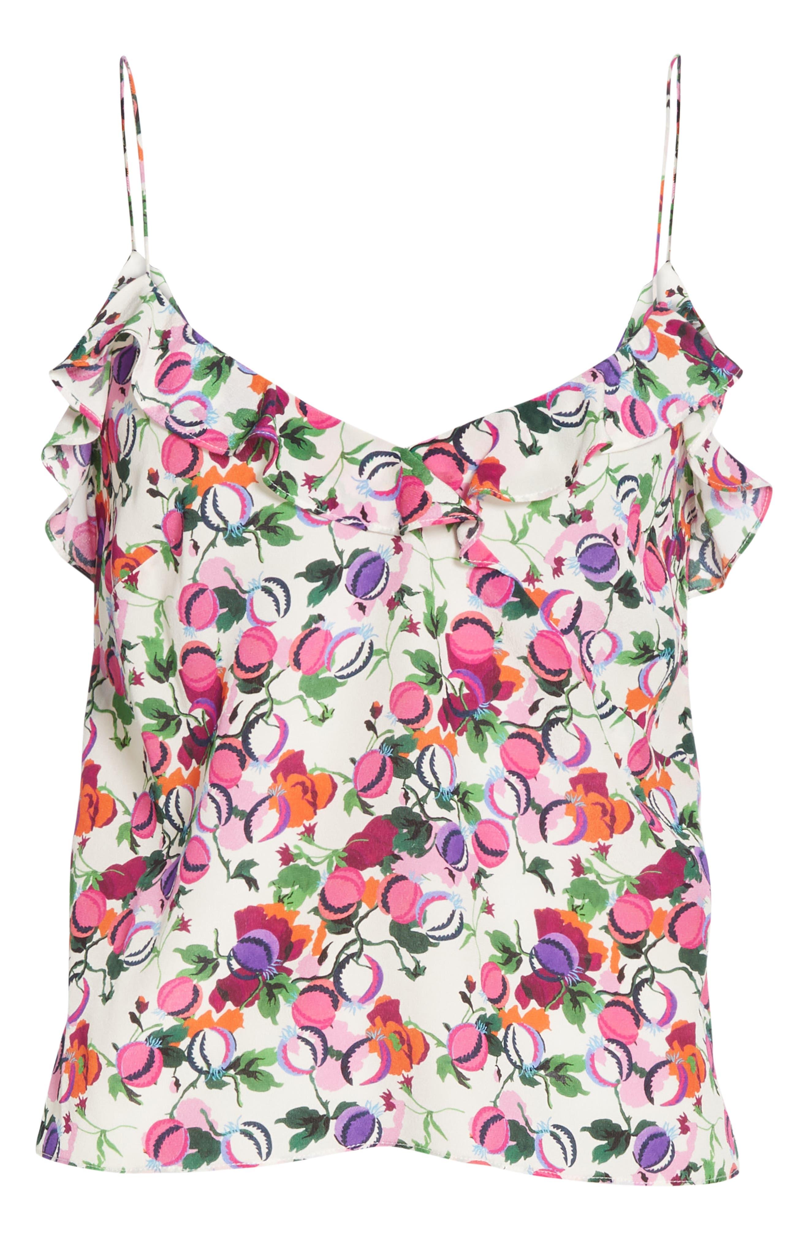 SALONI, Ani Floral Print Silk Camisole, Alternate thumbnail 6, color, ROSE BOUNTY