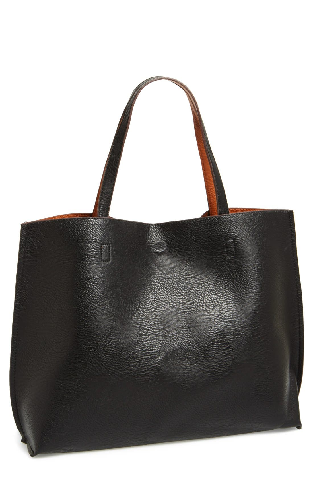 STREET LEVEL, Reversible Faux Leather Tote & Wristlet, Alternate thumbnail 7, color, BLACK/ COGNAC