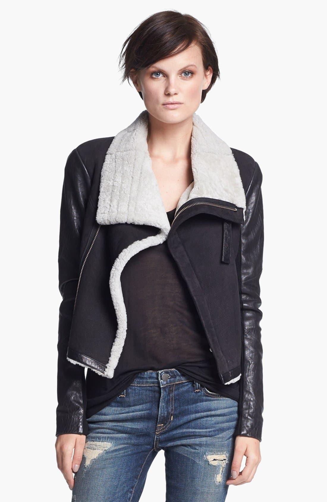 VEDA 'Mania' Genuine Shearling Moto Jacket, Main, color, 001